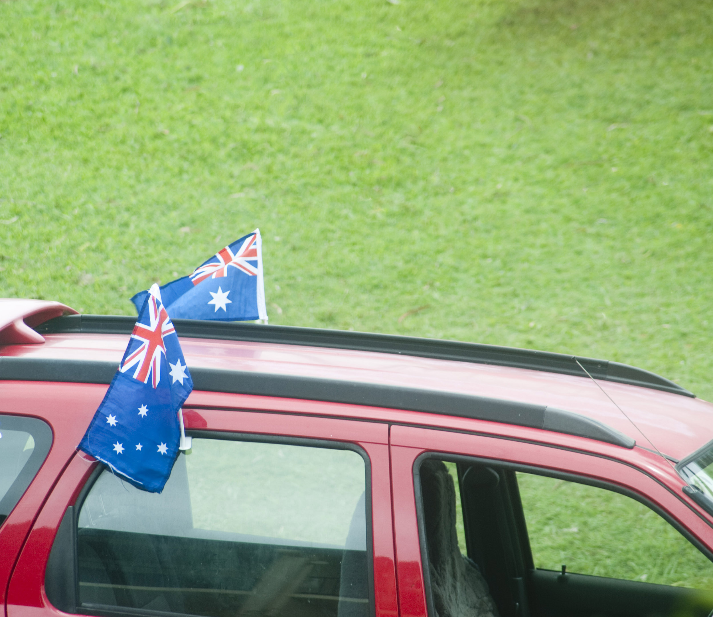 a car decorated with australian flags to celebrate australia day