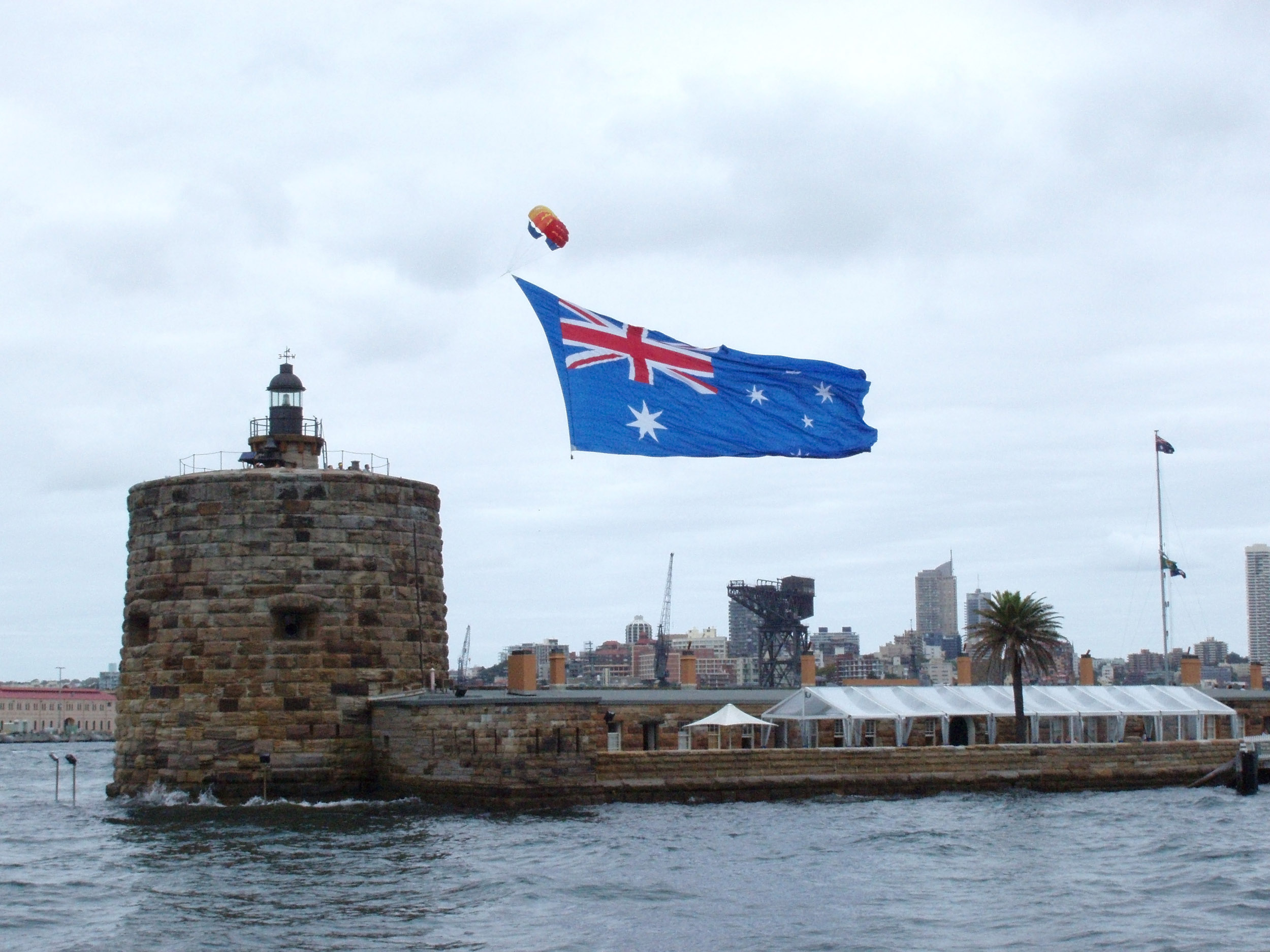 sydney fort denison and a flying australian flag