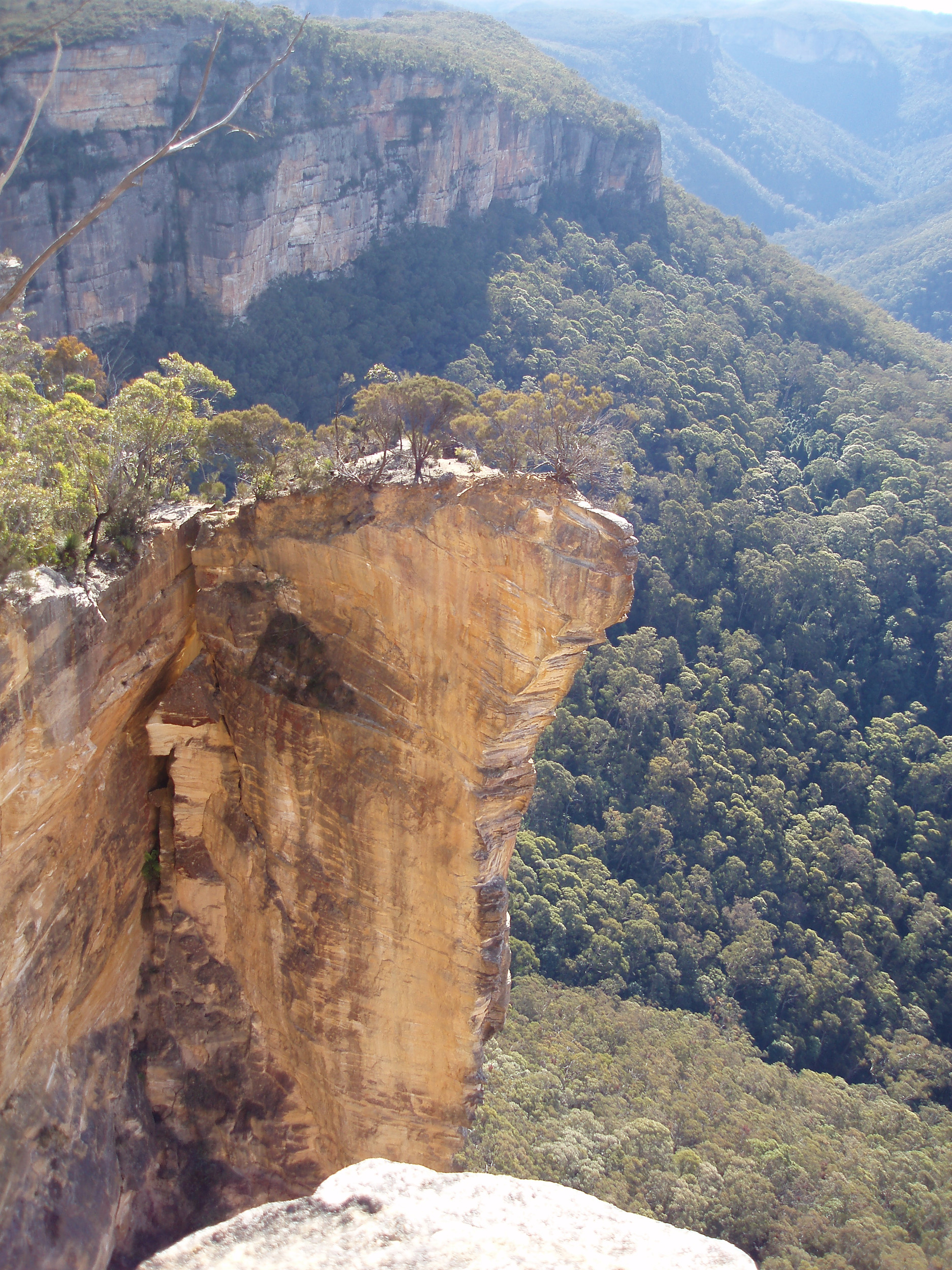looking down into the grose valley at the hanging rock formation