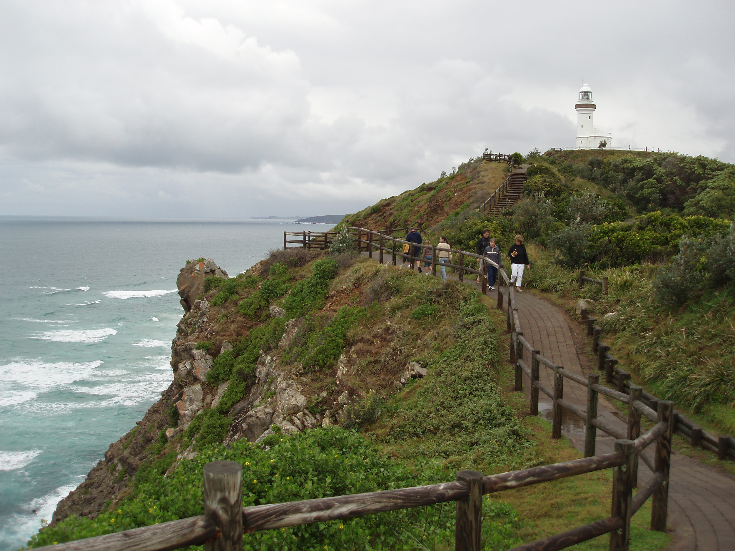 people on the walking track at cape byron, byron bay