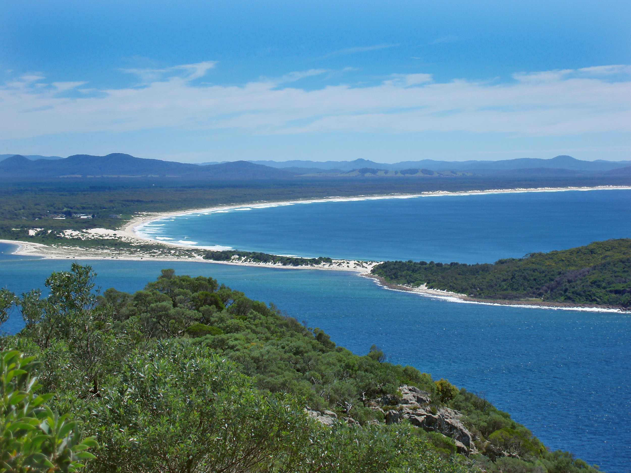 view from Tomaree Head lookout, shoal bay, port stephens