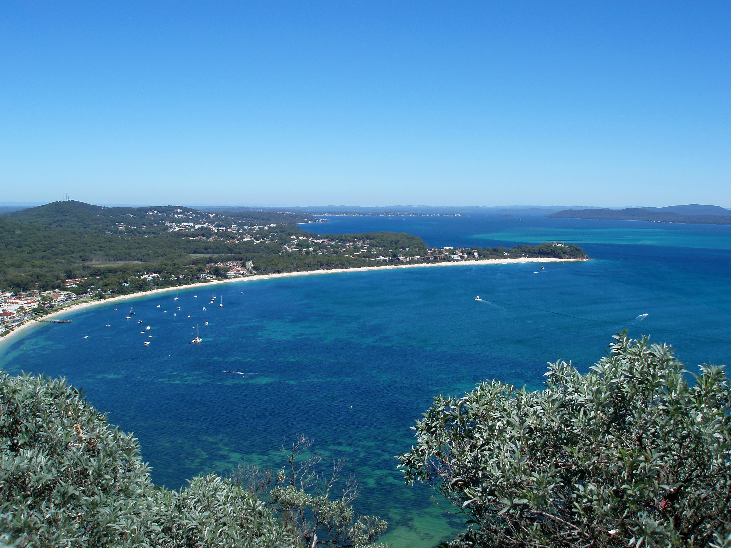 a panoramic view of shoal bay, port stephen, new south wales