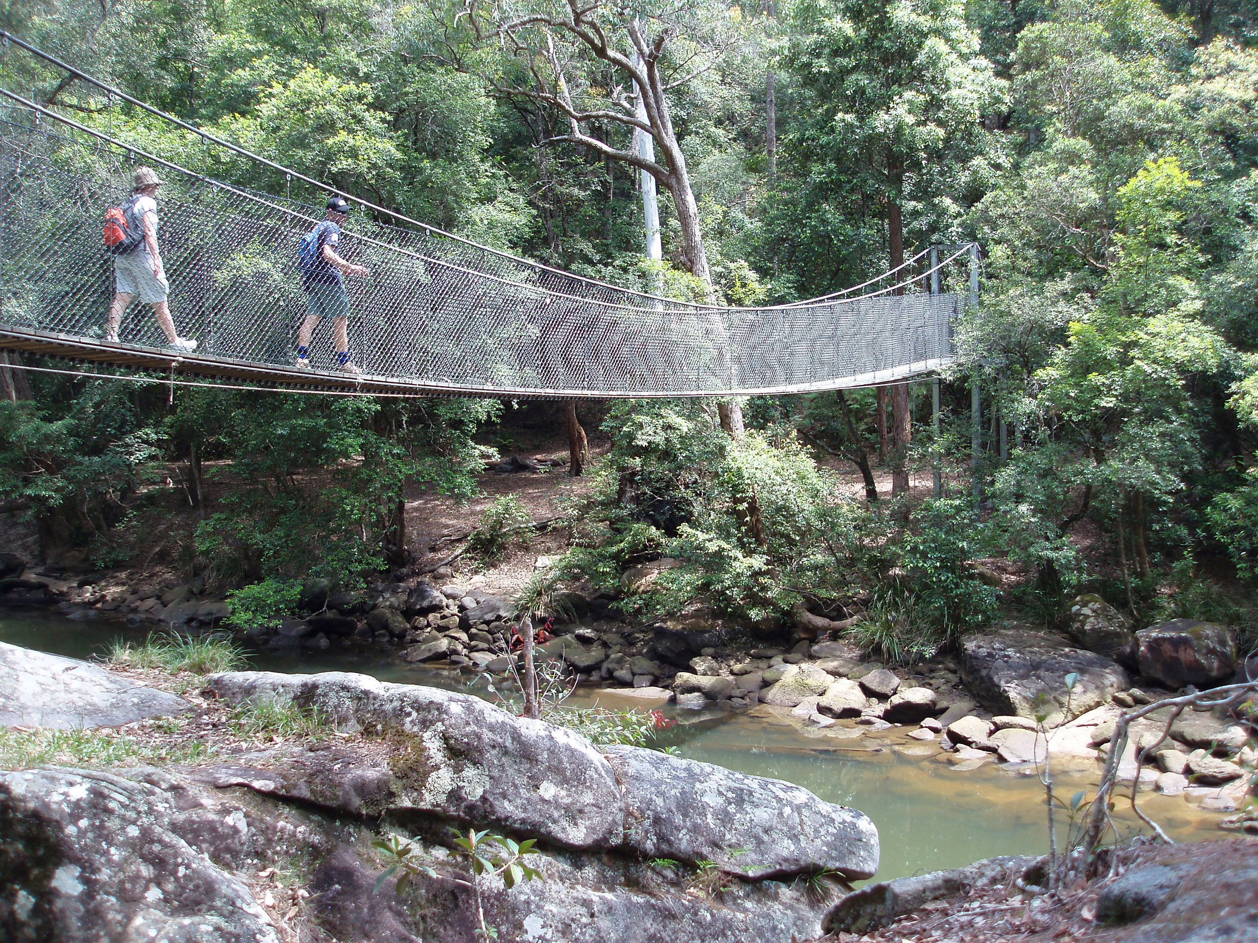 a suspension bridge on a footpath round the girrakool loop