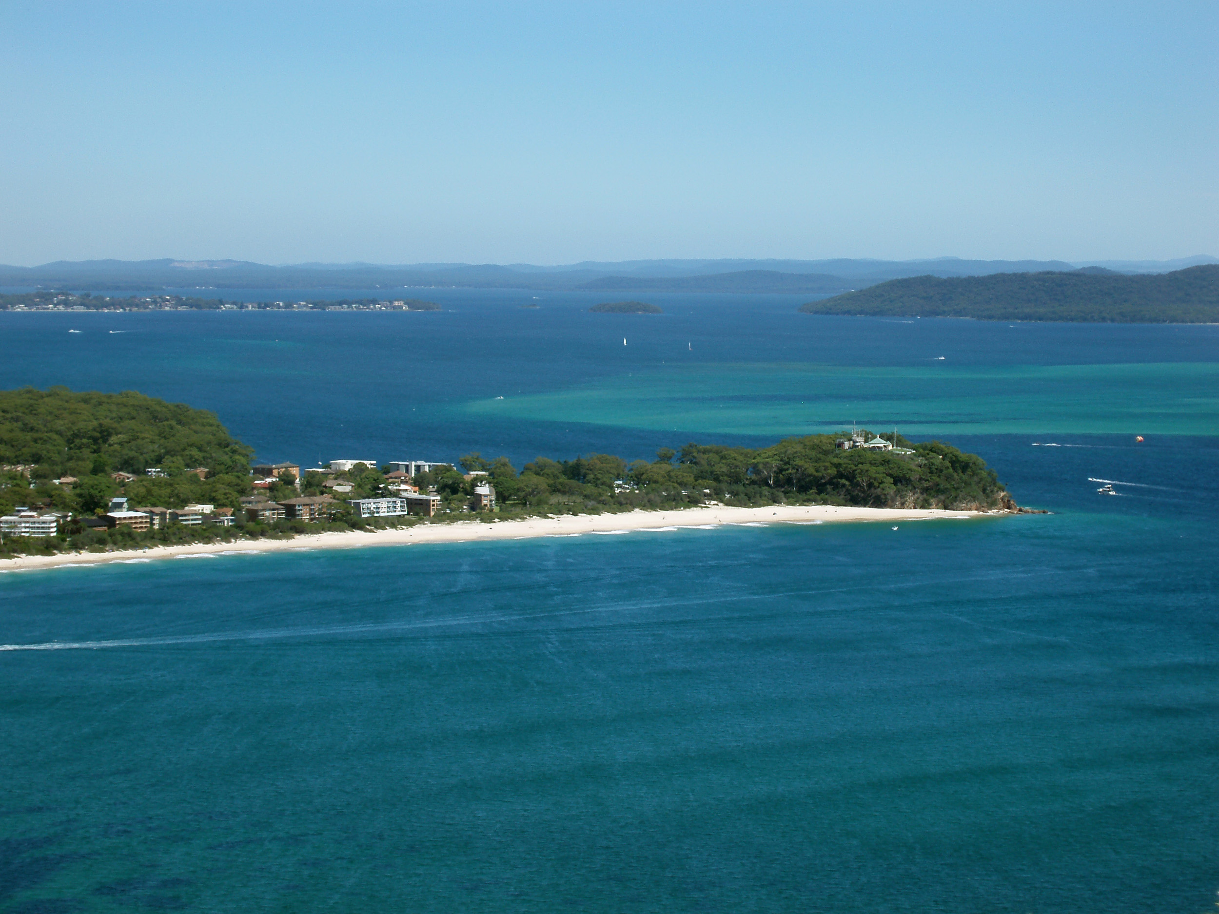 a view of shoal bay from Tomaree Head lookout