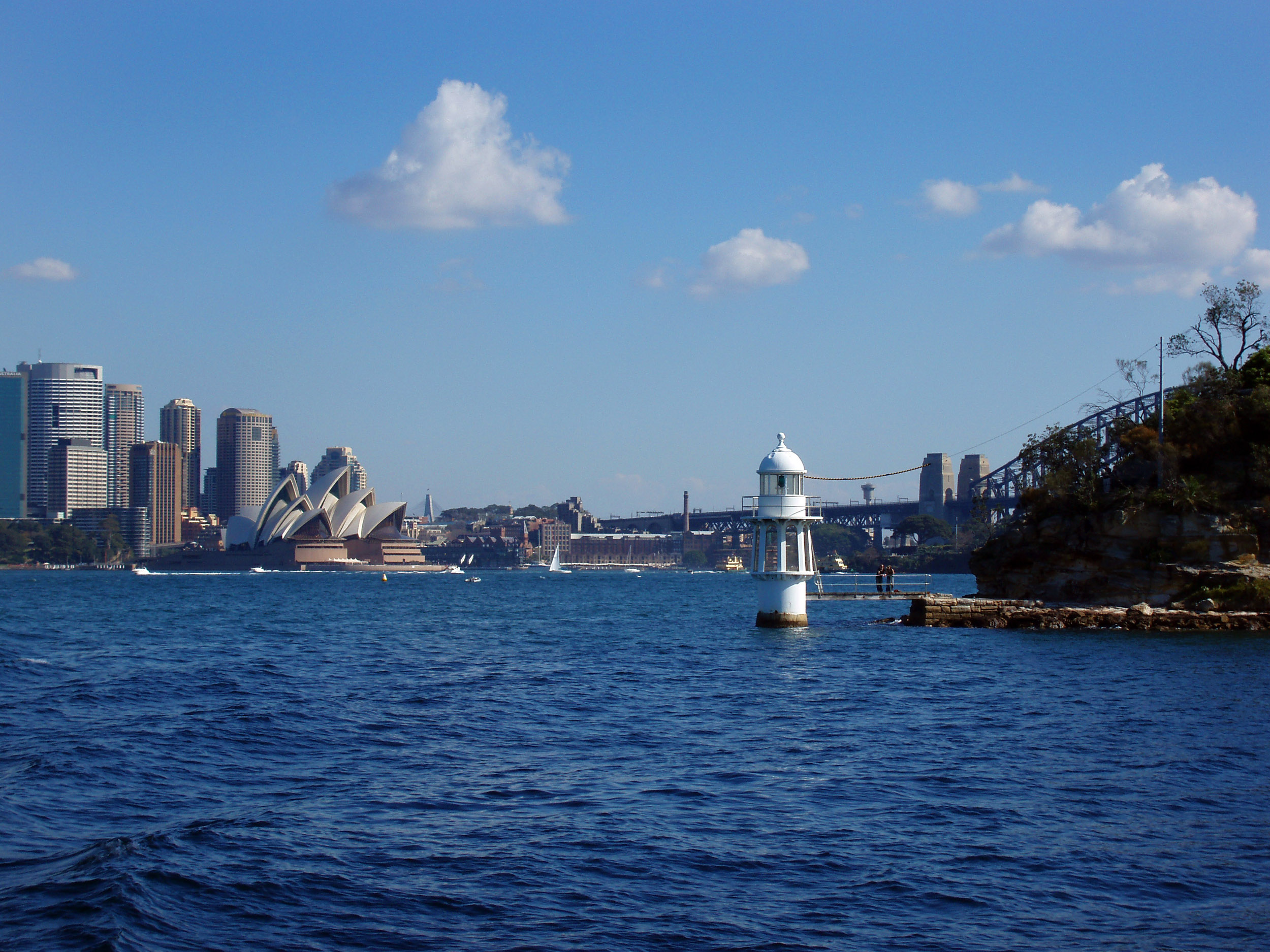 a small navigation lighthouse on sydney harbour
