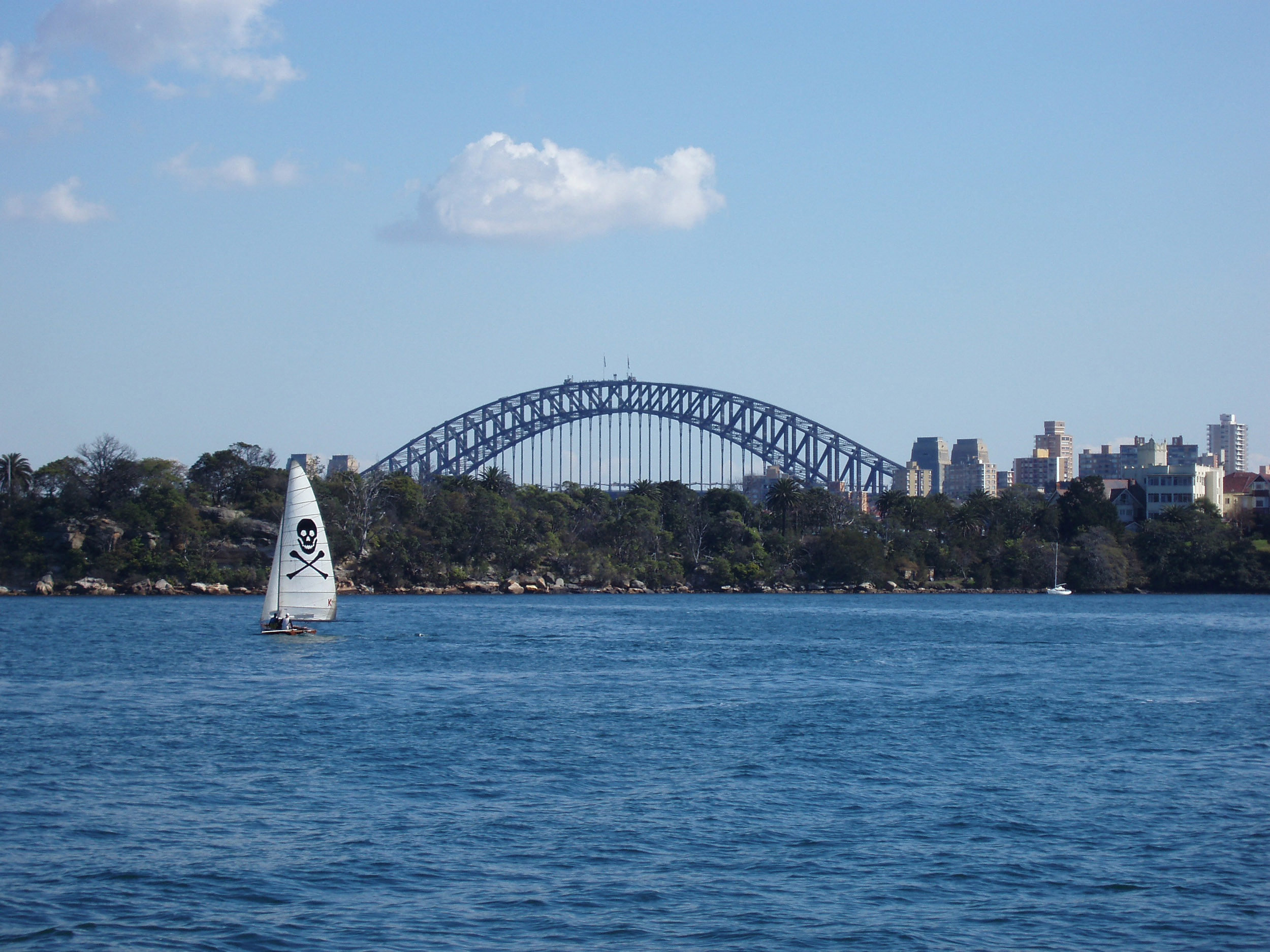 a boat sailing on sydney harbour with the top of the harbour bridge in the distance
