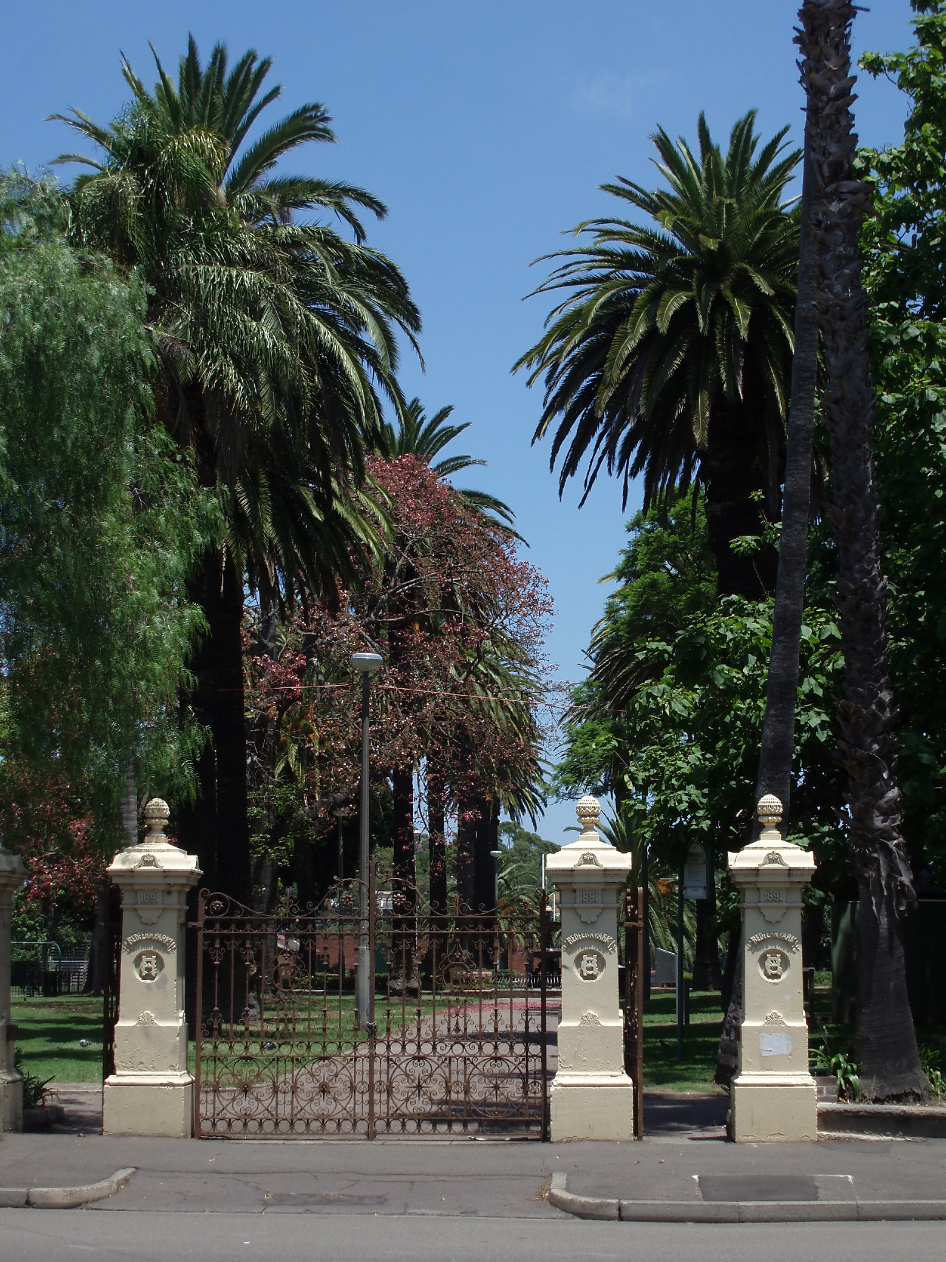 historic gates at the entrance to redfern park, sydney