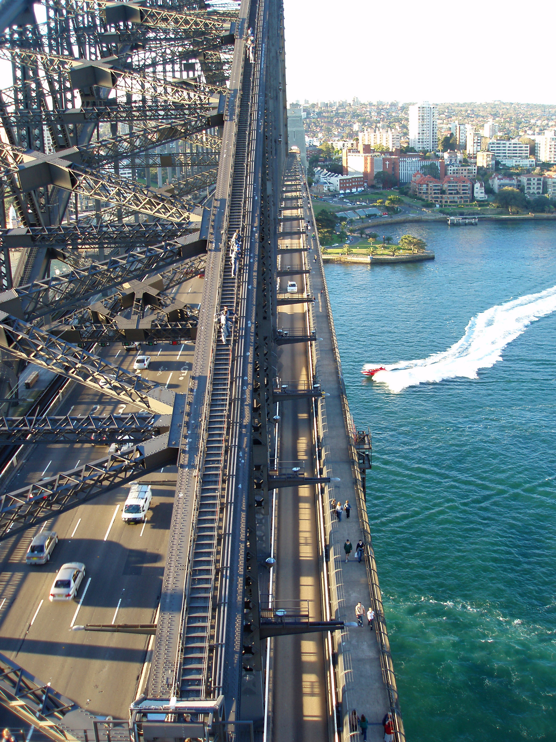 an elevated view along sydneys famous harbour bridge from the south pylon