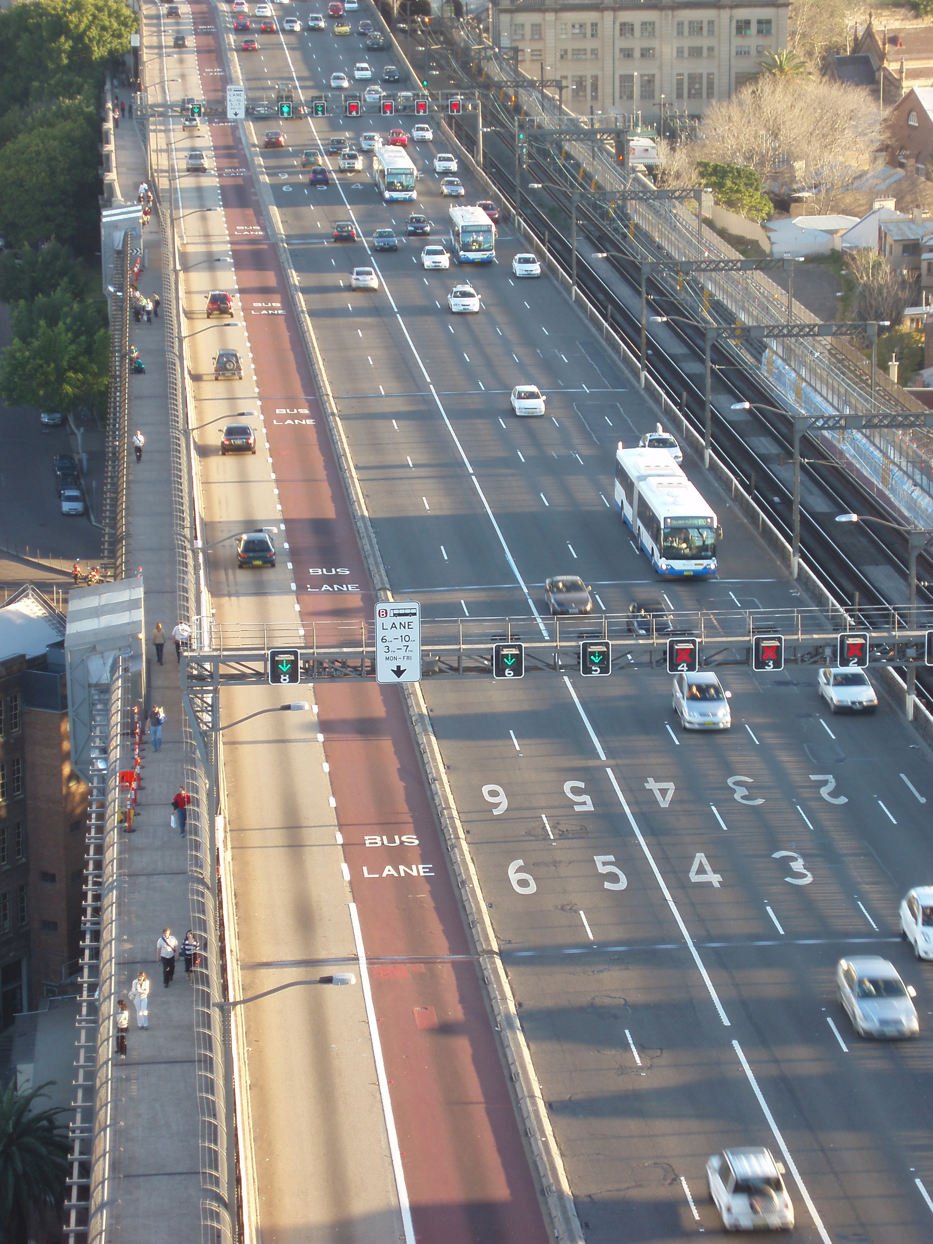 view from above: traffic flowing into and out of sydney CBD from the harbour bridge access ramp