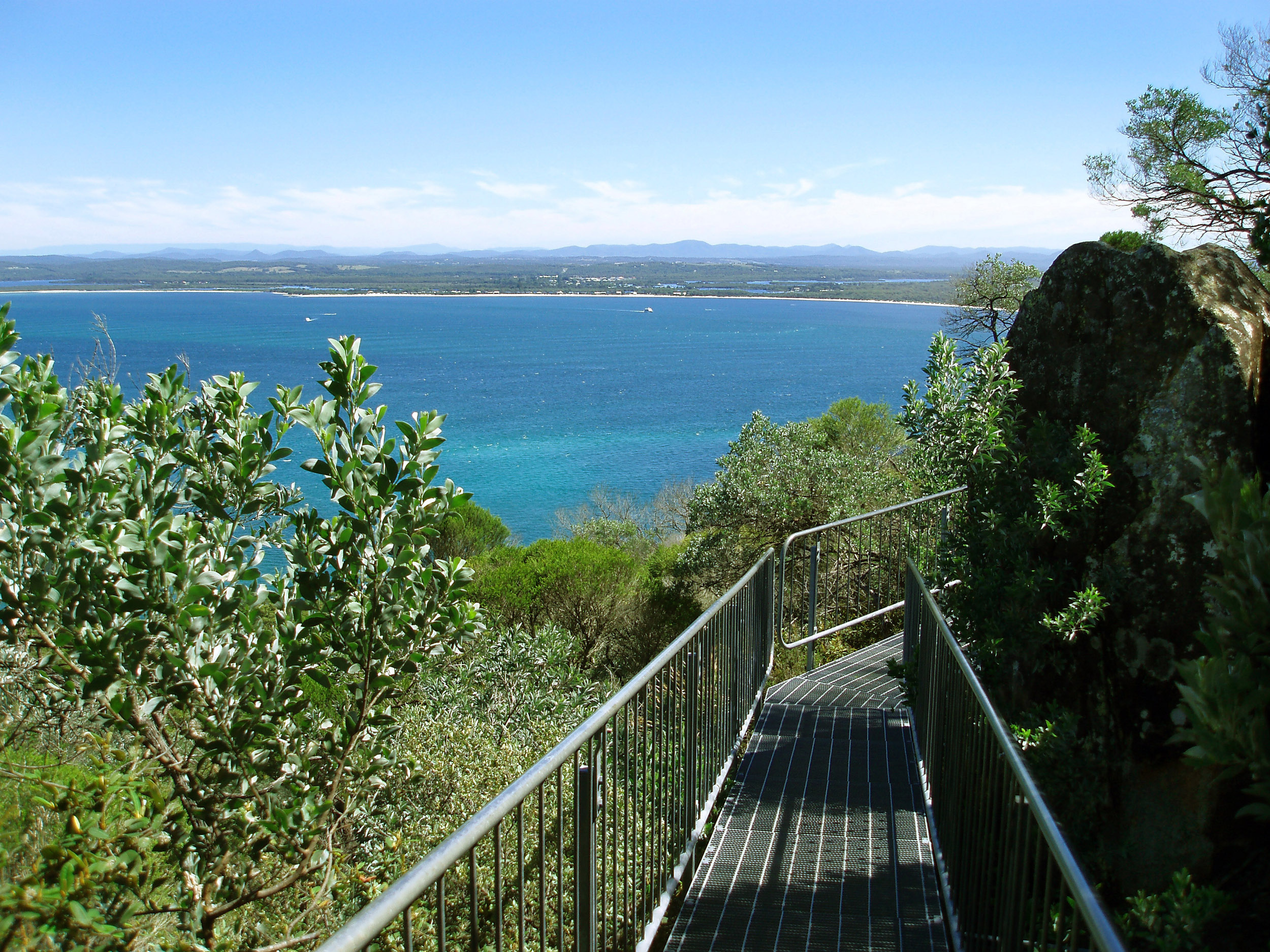 metal walkways along the climb up tomaree head, shoal bay, port stephens