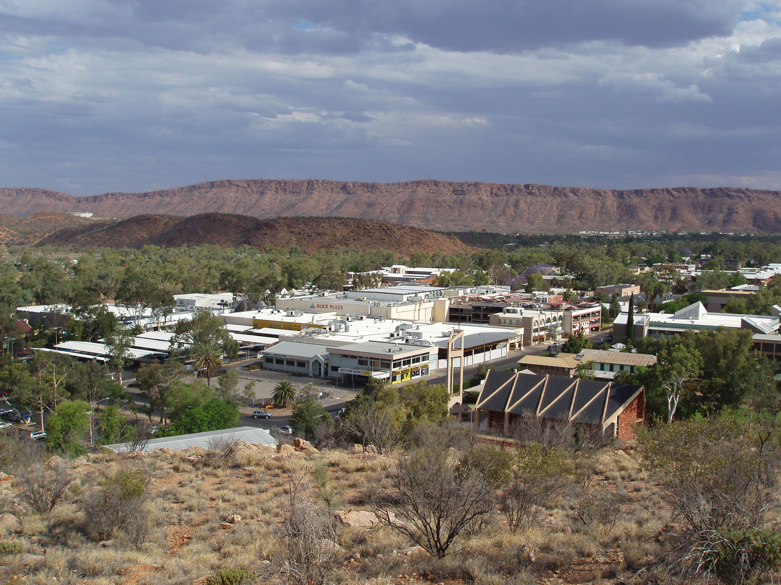 view of the alice springs todd mall shops from anzac hill