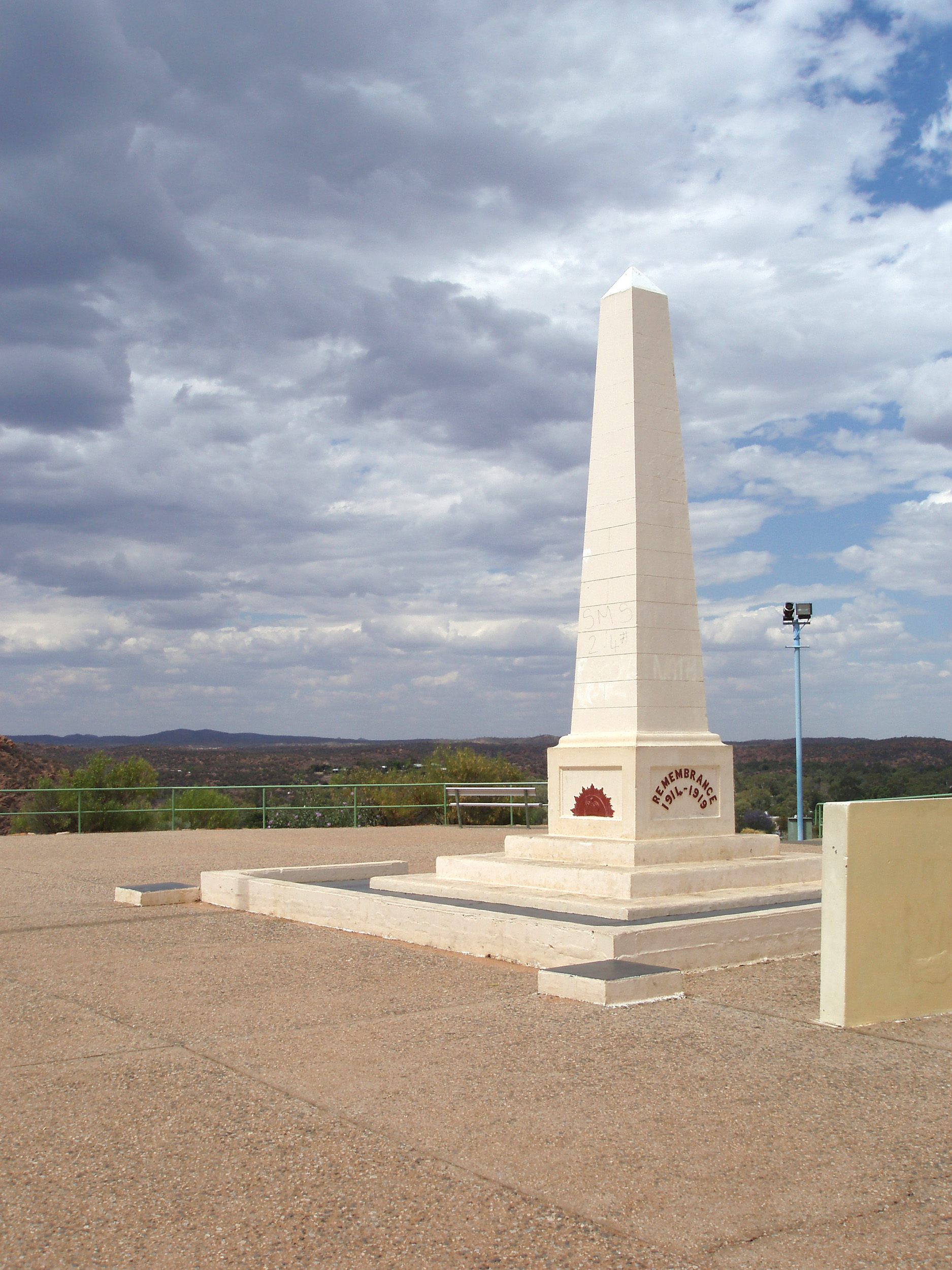 first world war remembence memorial on top of anzaz hill, alice springs