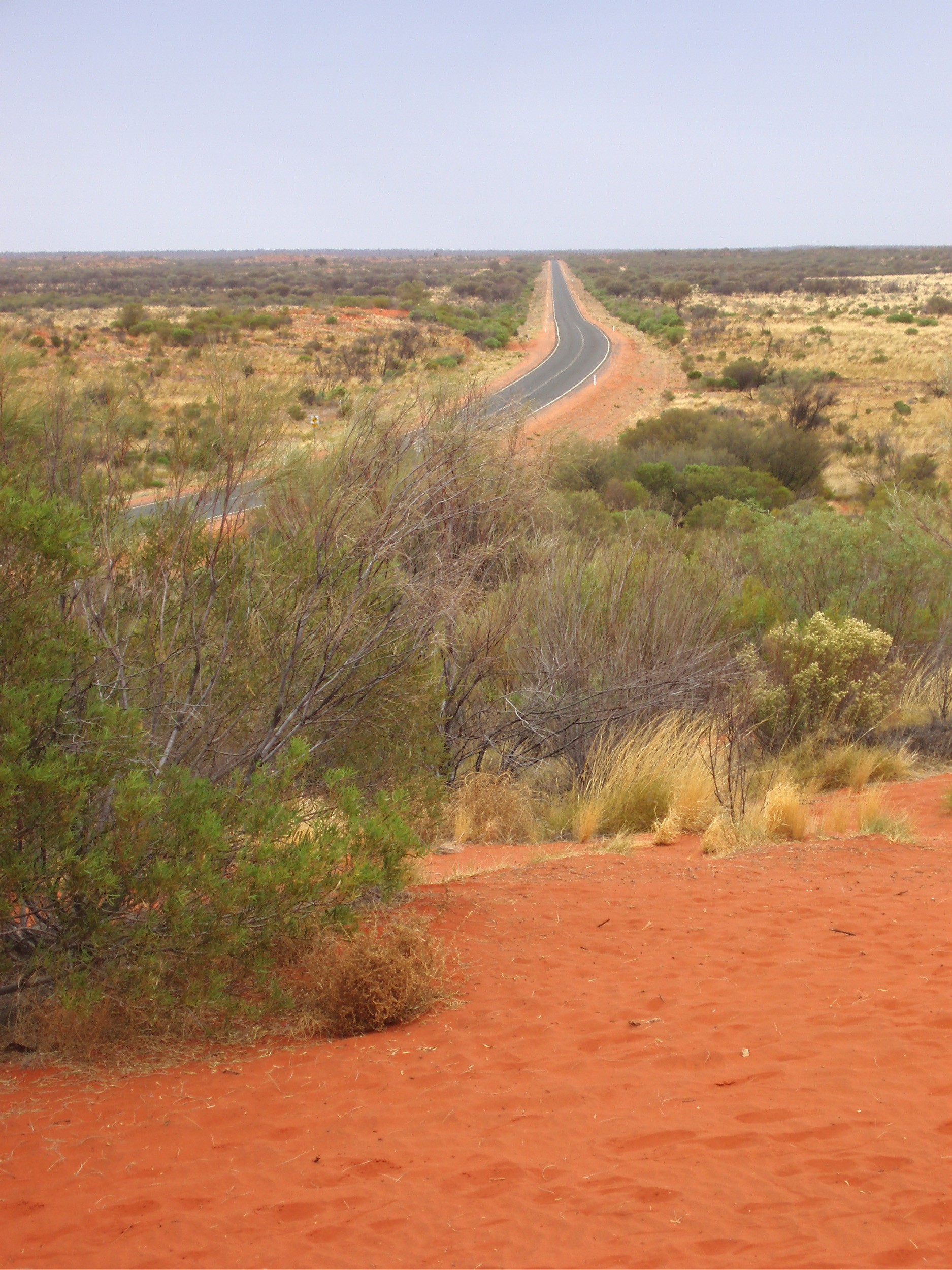 a long featureless road through the centre of australia