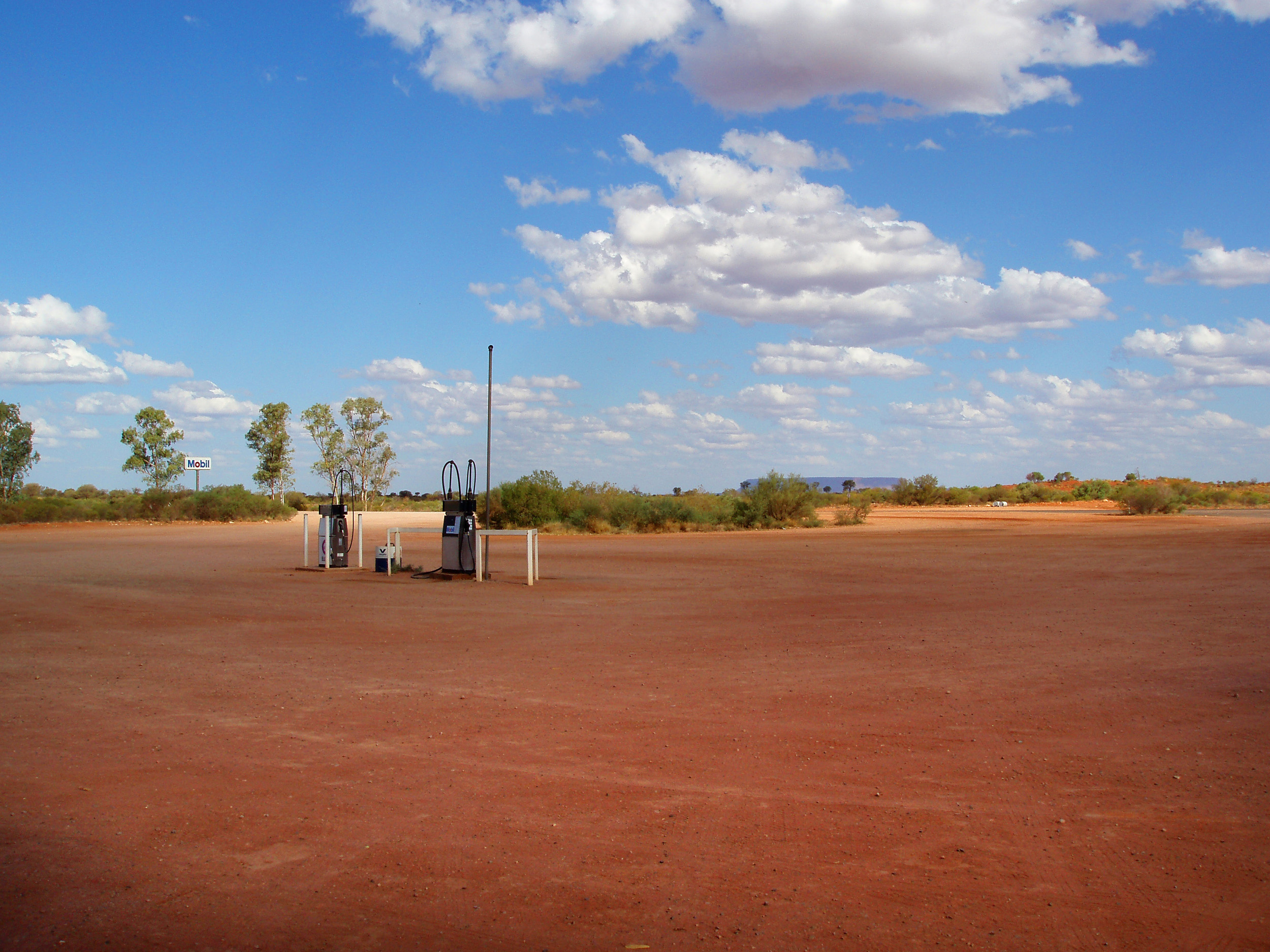 a remote fuel station several hours drive out of alice springs
