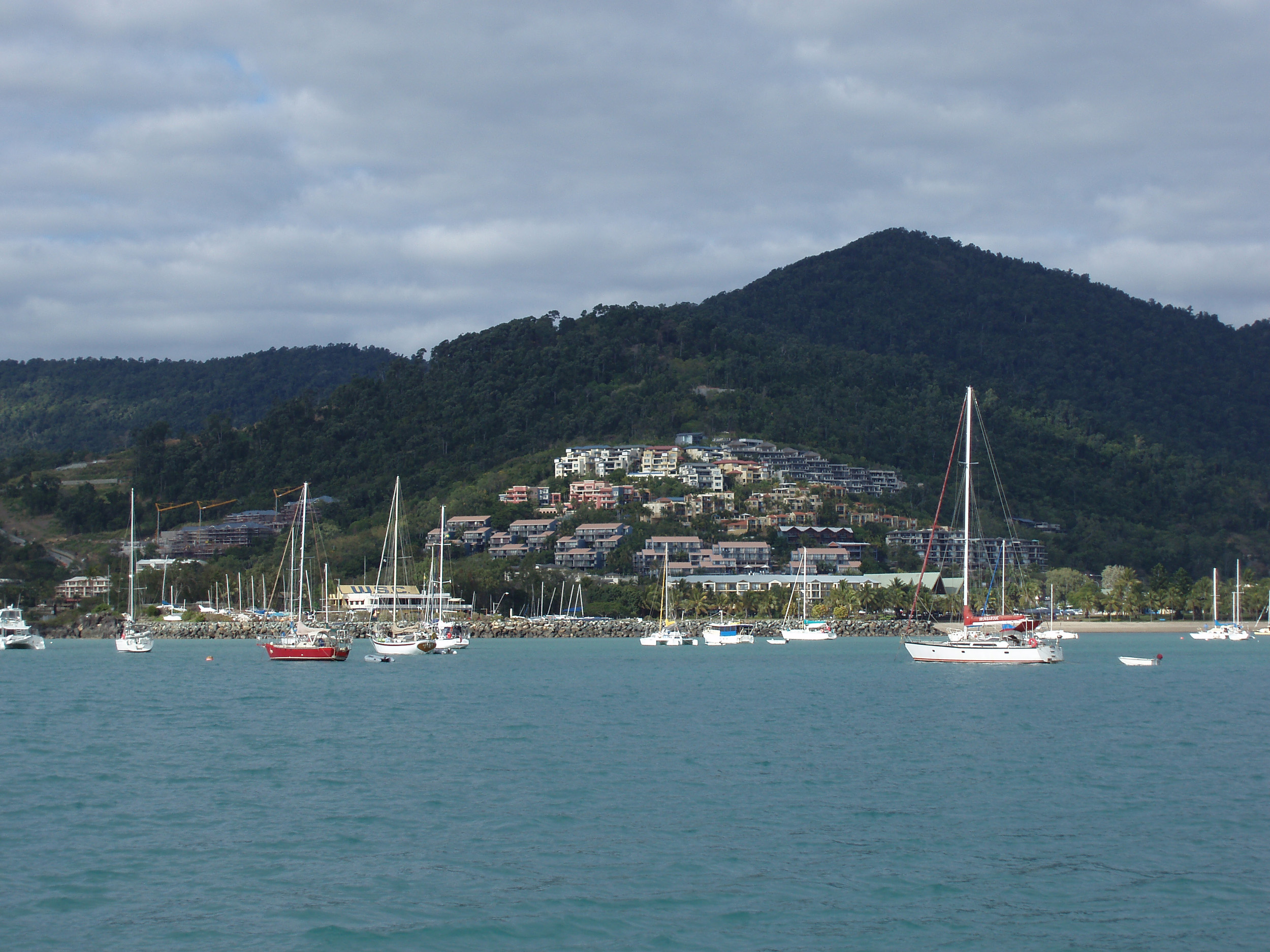 a view of airlie beach and boats moored along the shoreline