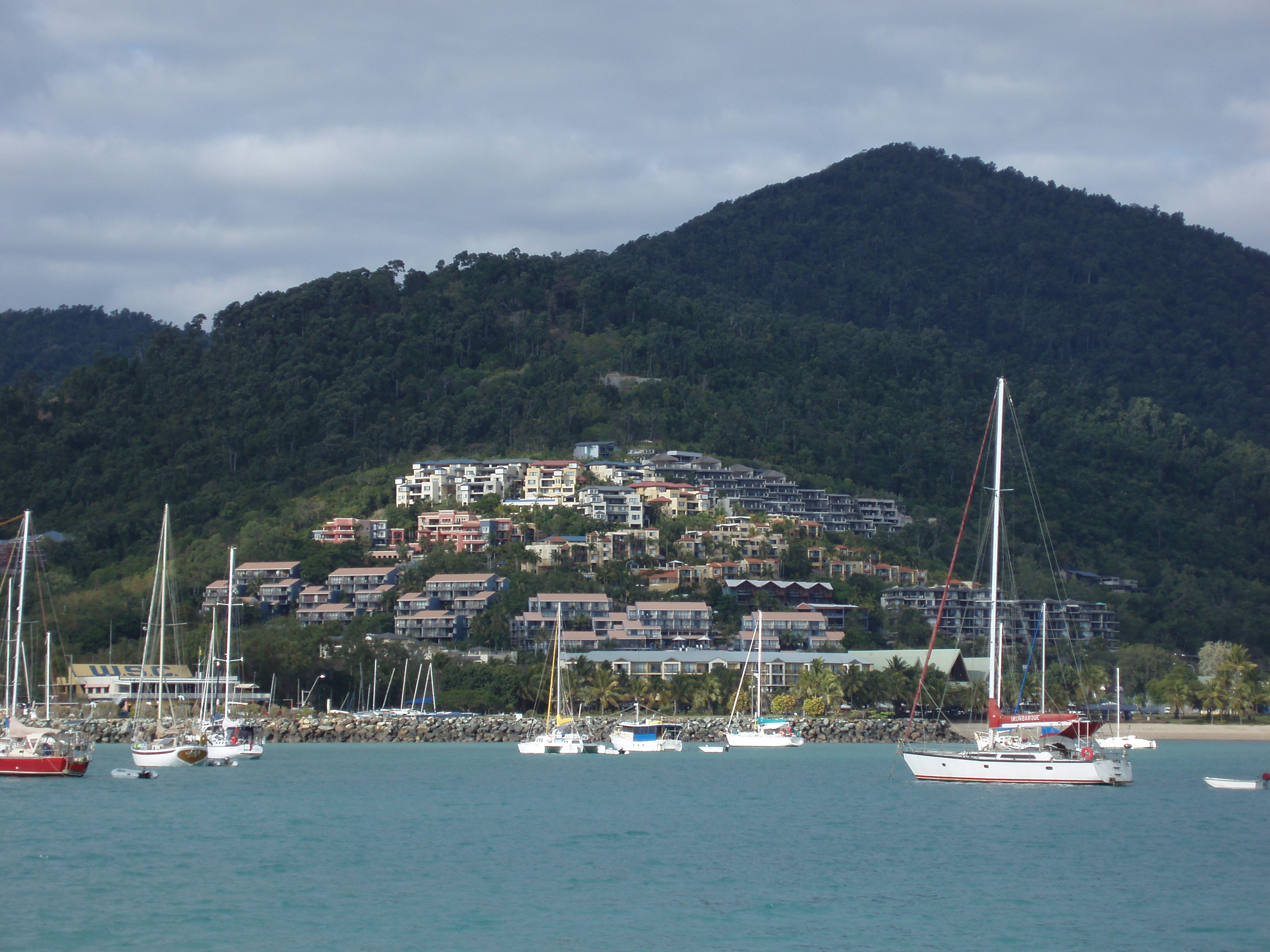 a view of airlie beach from the water