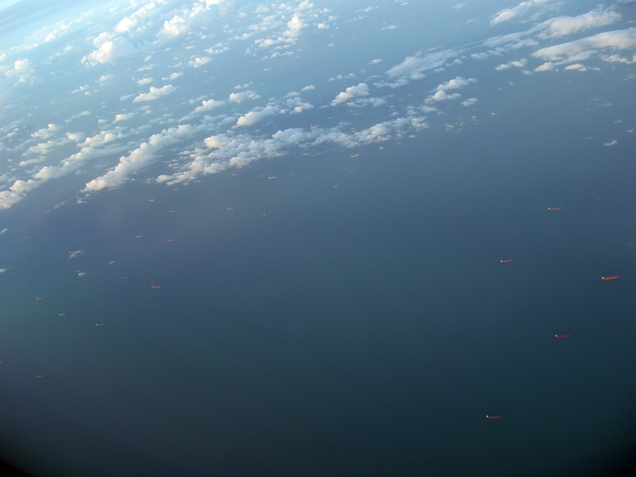 lines of bulk carrier vessels off the queensland coast at gladstone