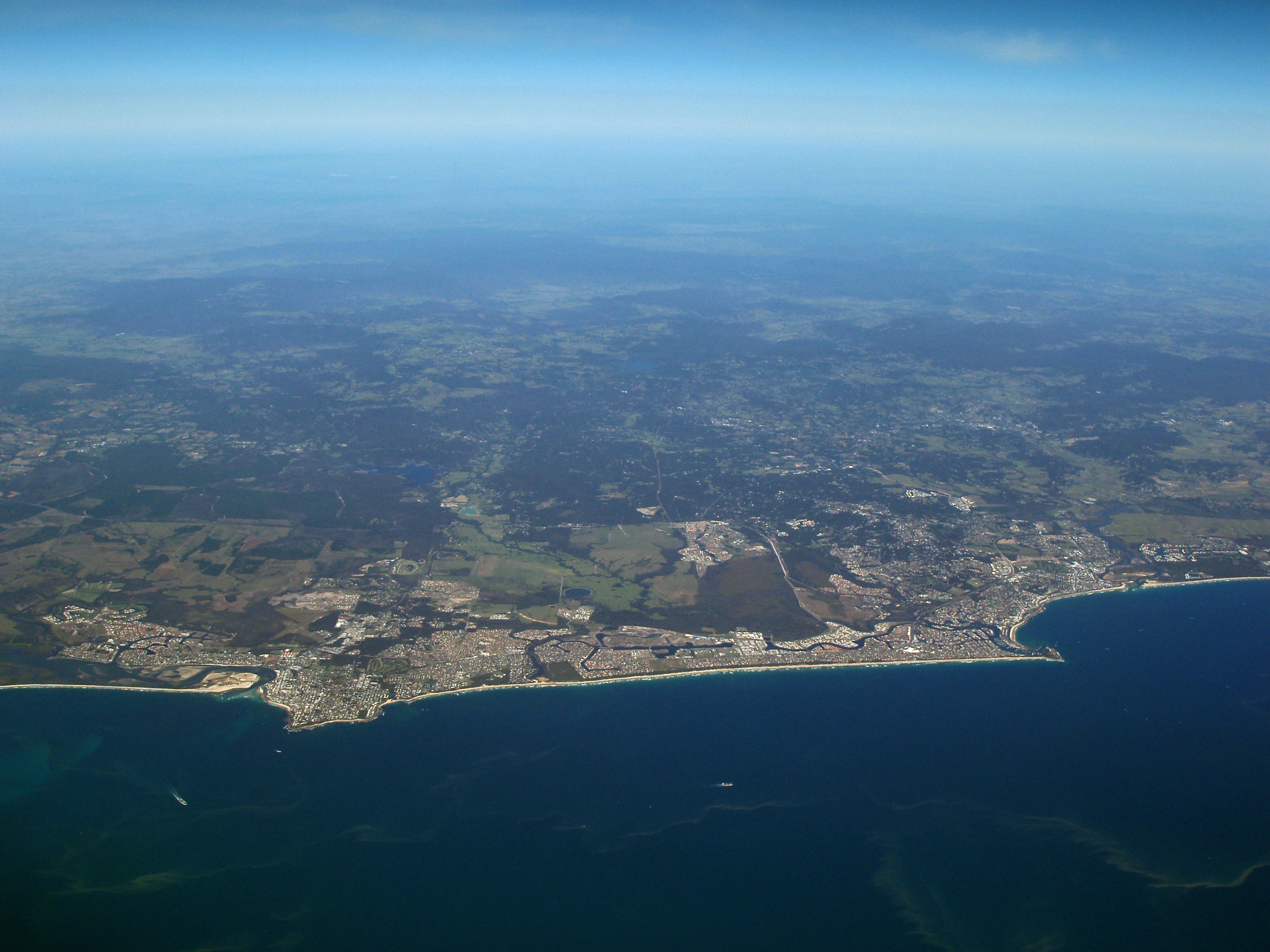 an aerial view of the sunshine coast town of caloundra