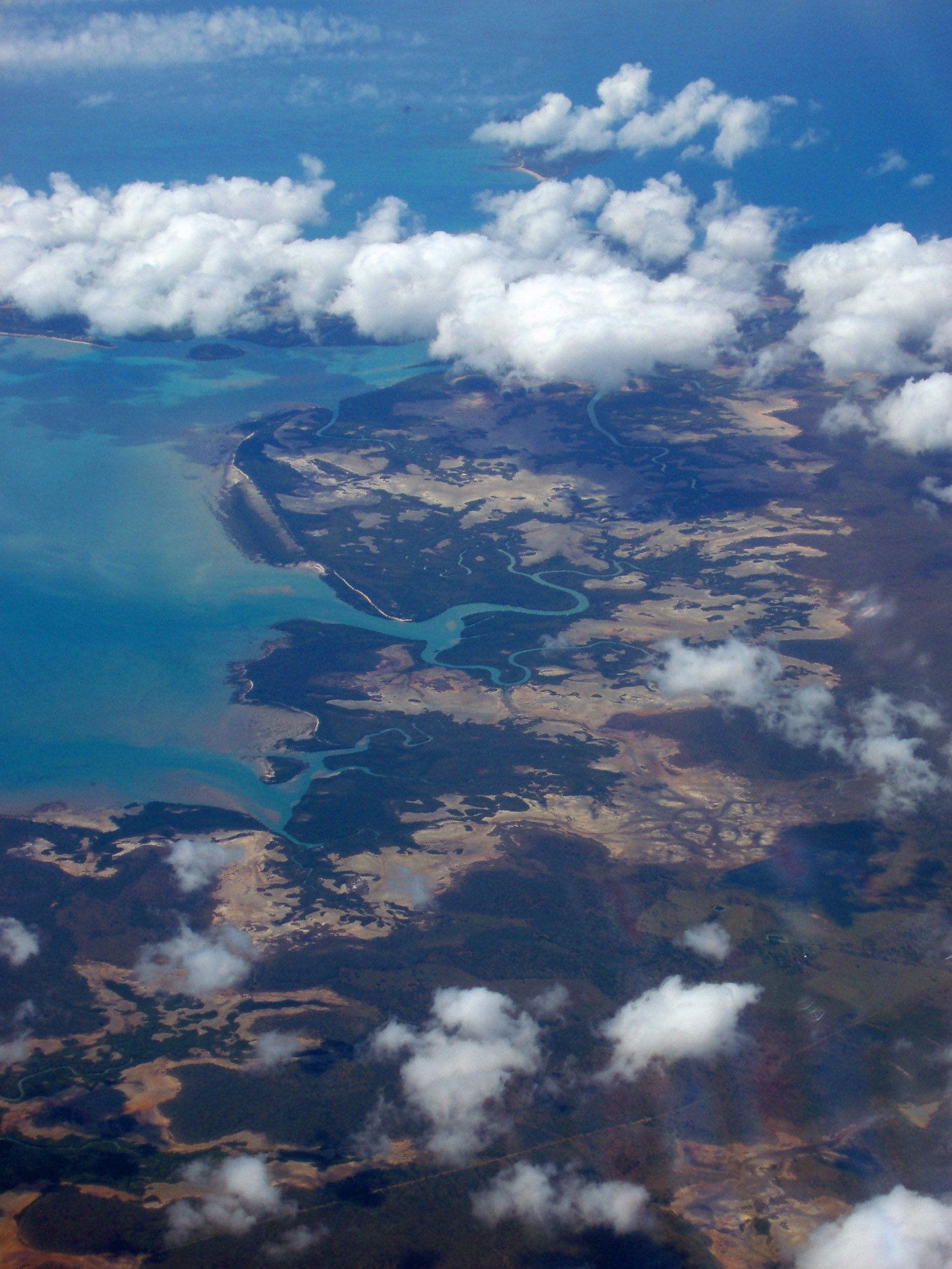 an aerial view of the cape palmerston national park, tropical north queensland