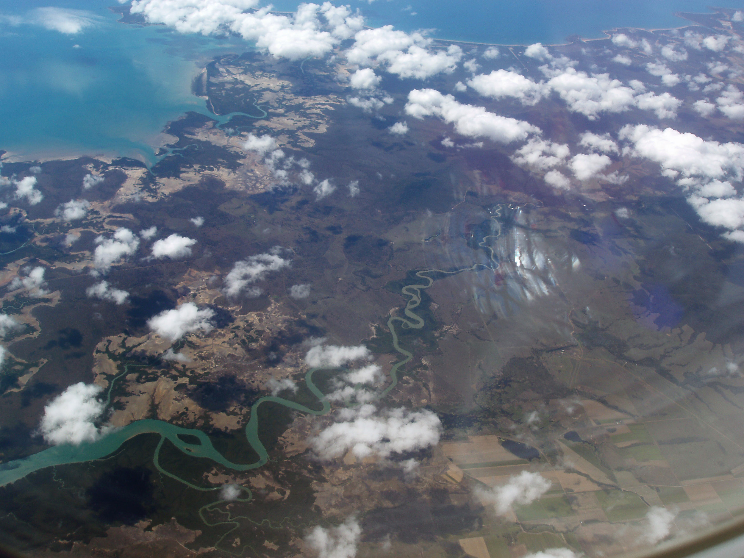 view from the air of cape palmerston national park