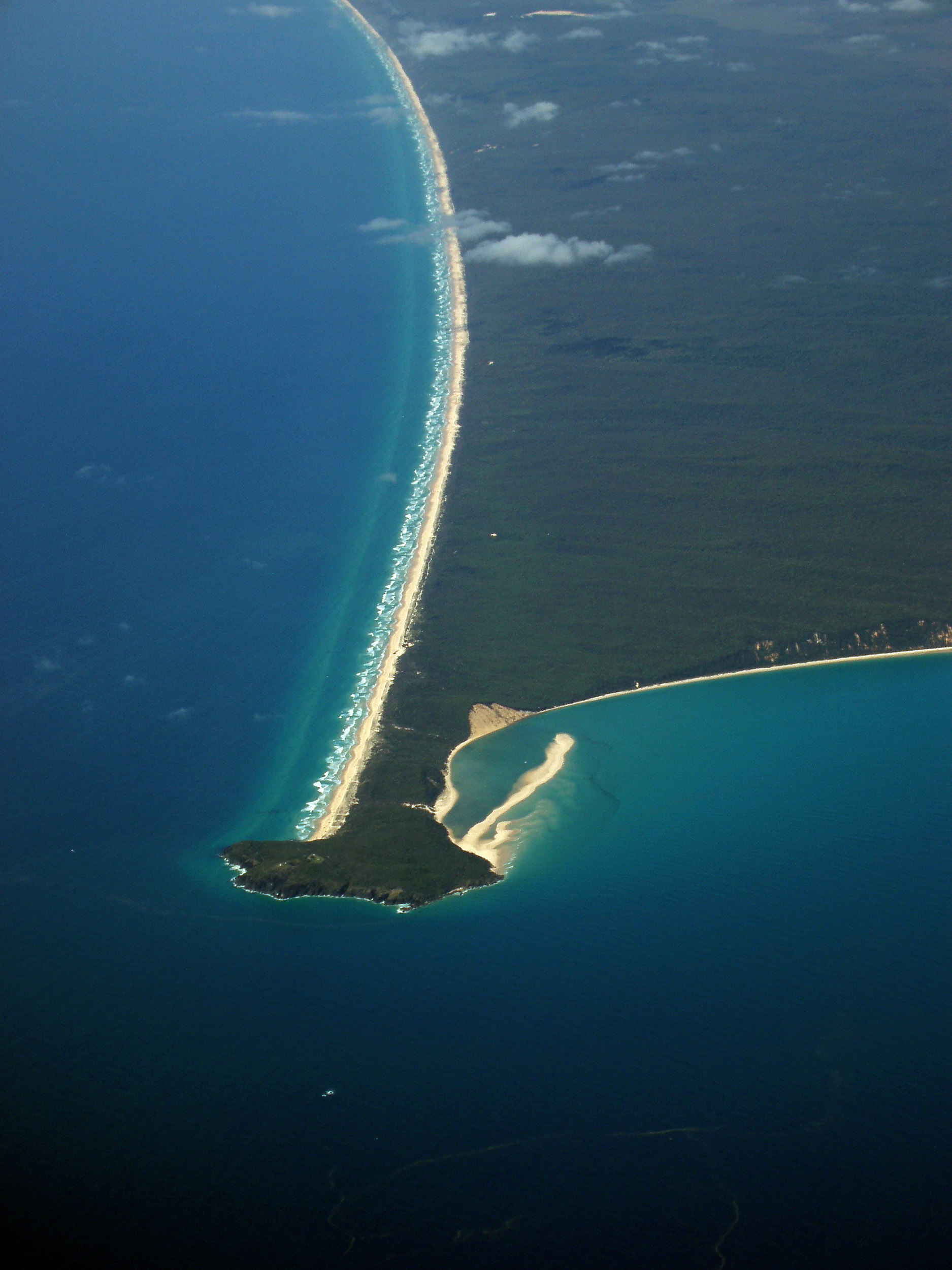 aerial view of the headland at double island point, queensland