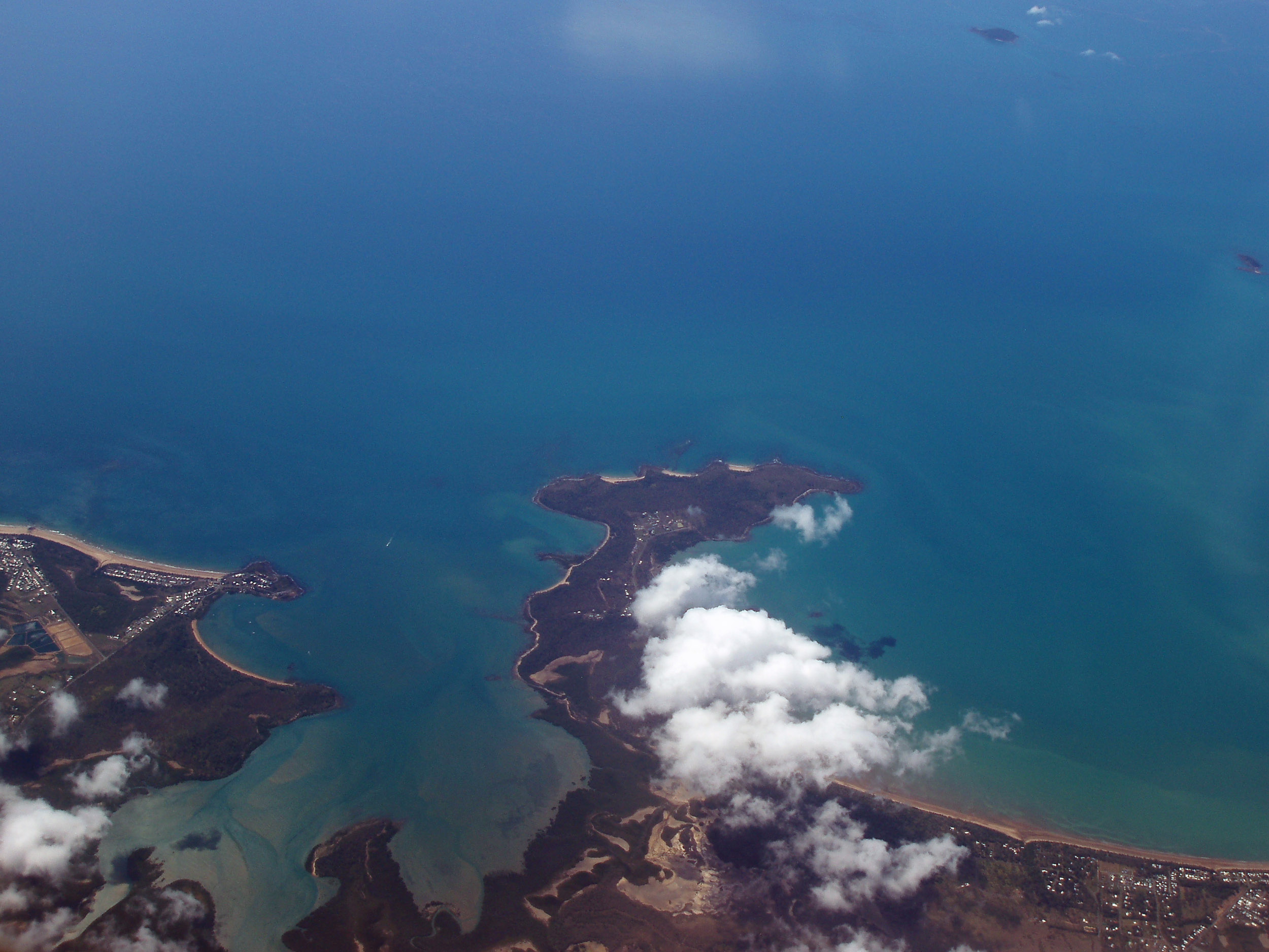 an aerial photography view of freshwater point on the queensland coast