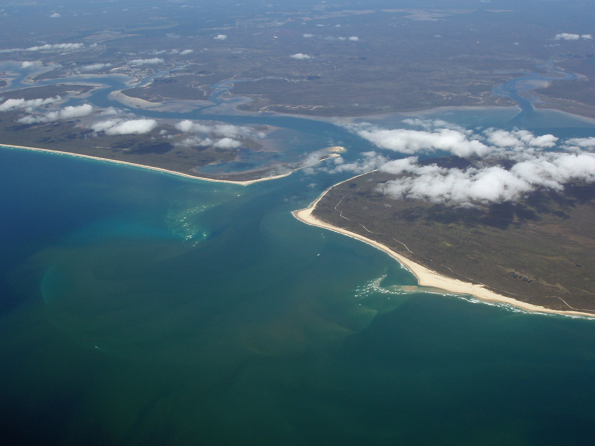 tidal inlet at great sandy straight, queensland