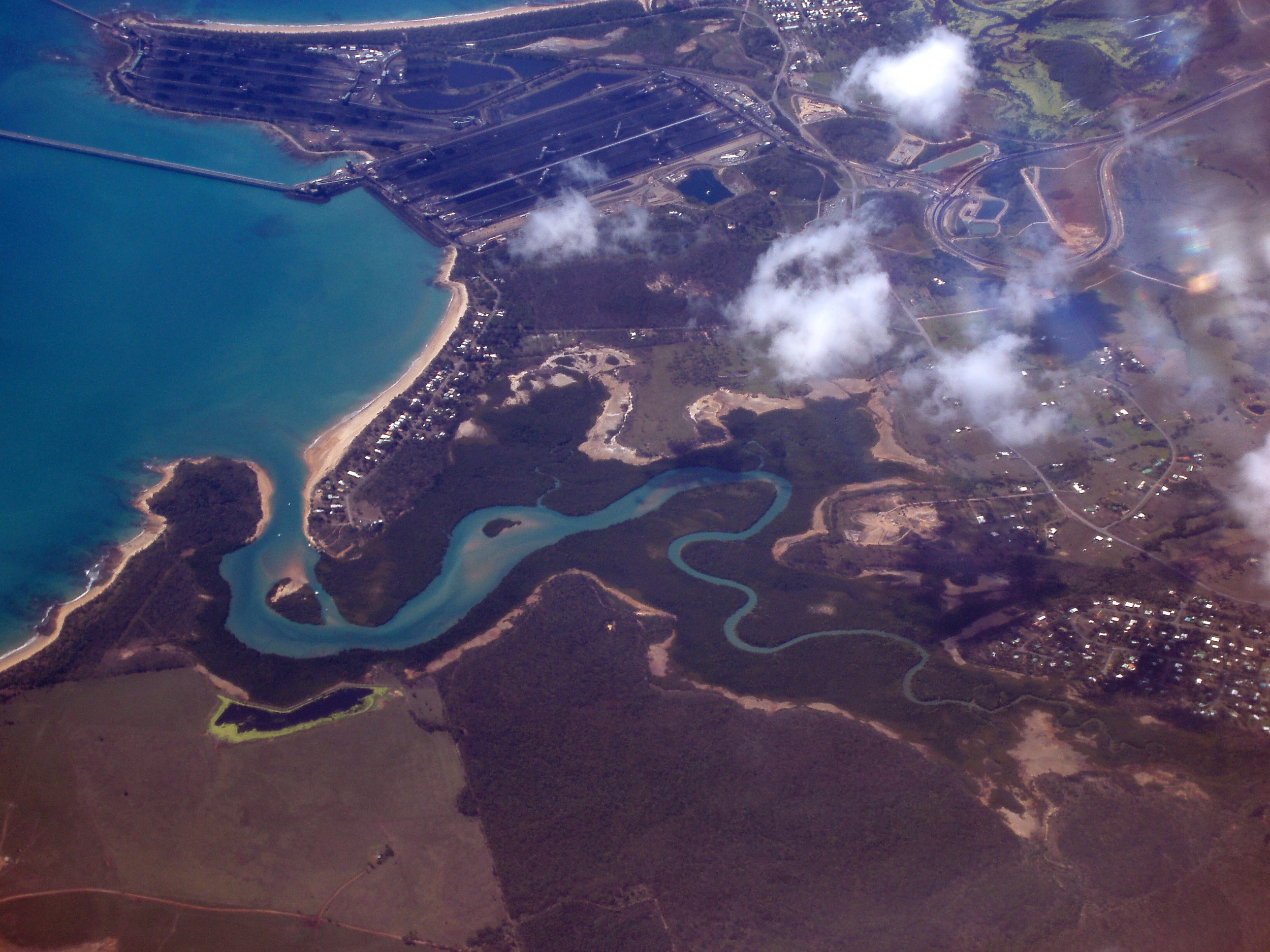 hay point and bulk cargo terminal, north queensland, viewed from above