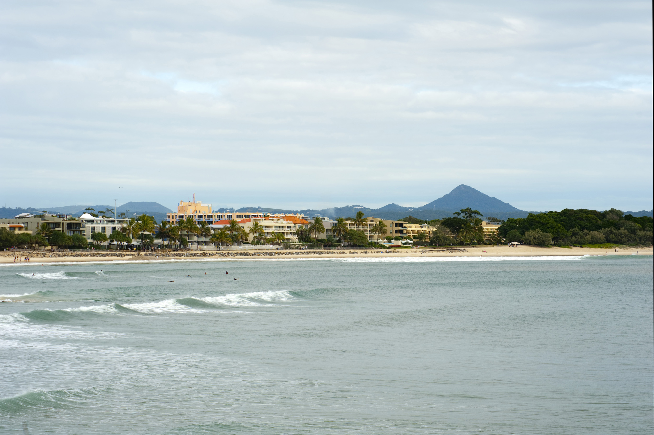 Noosa beach and waterfront, a popular resort and surfing destination in Queensland, Australia