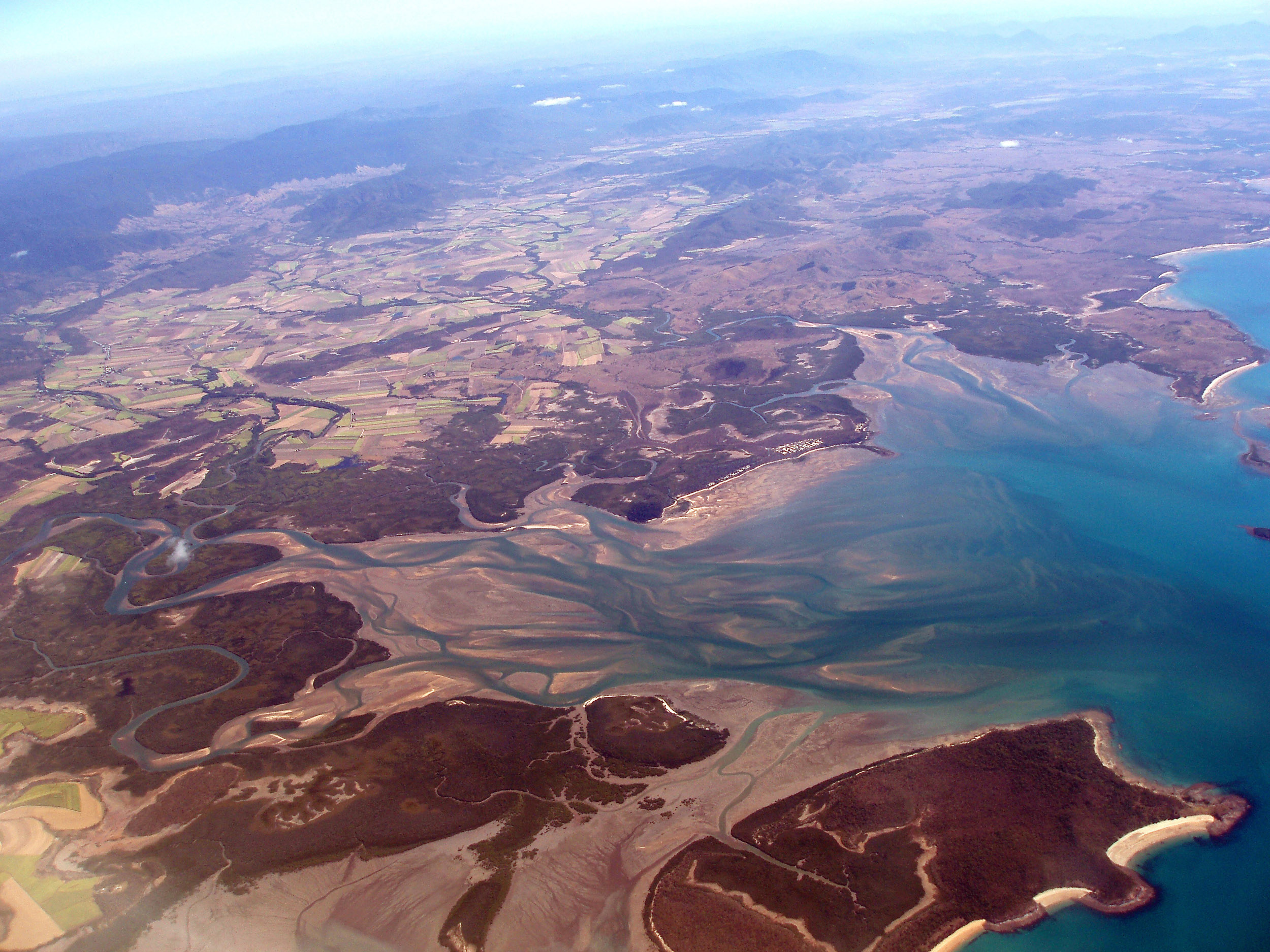 an aerial view of st helens beach and the murray river estuary