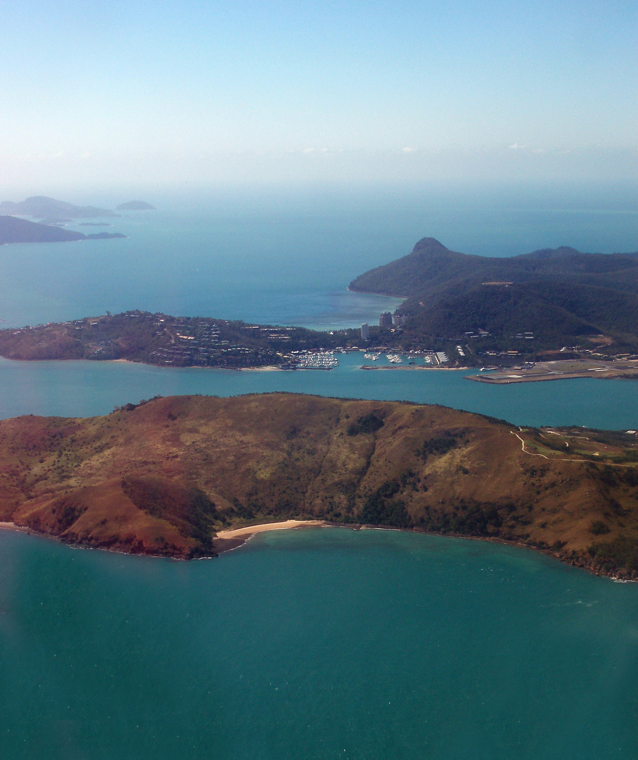 aerial veiw of dent island with hamilton island to the rear, whitsundays, queensland