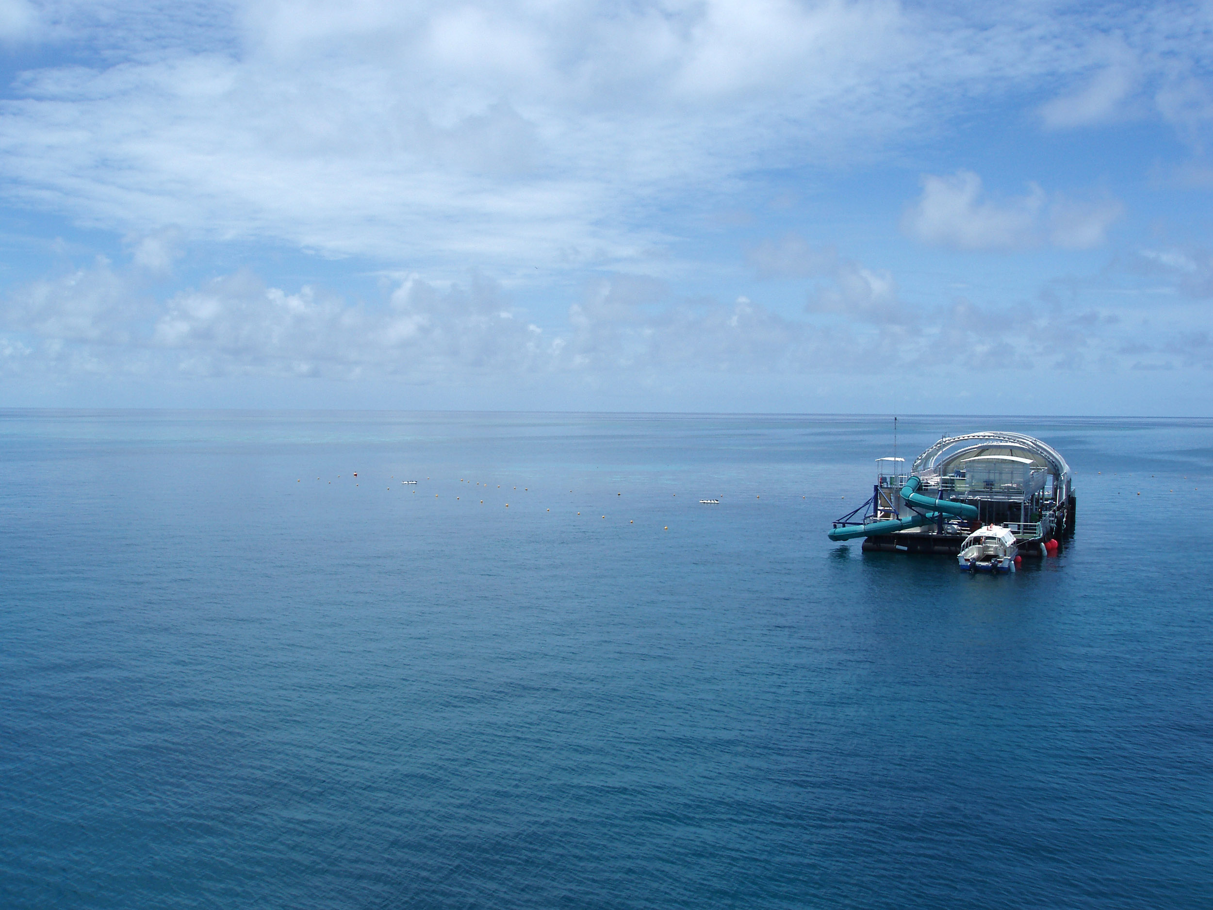 a nuckle reef diving pontoon on the great barrier reef, queensland