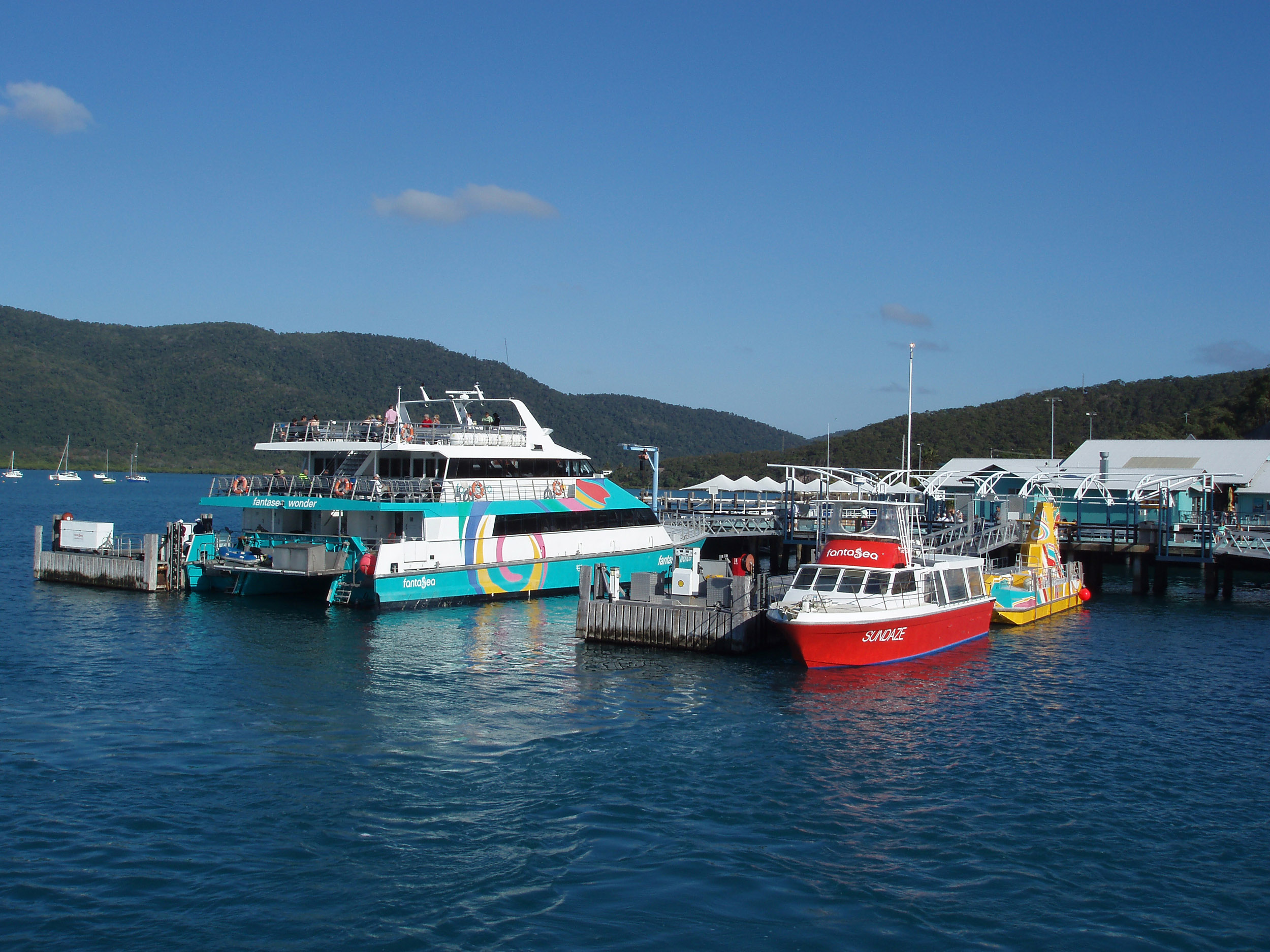 boats in the ferry terminal at shute harbour