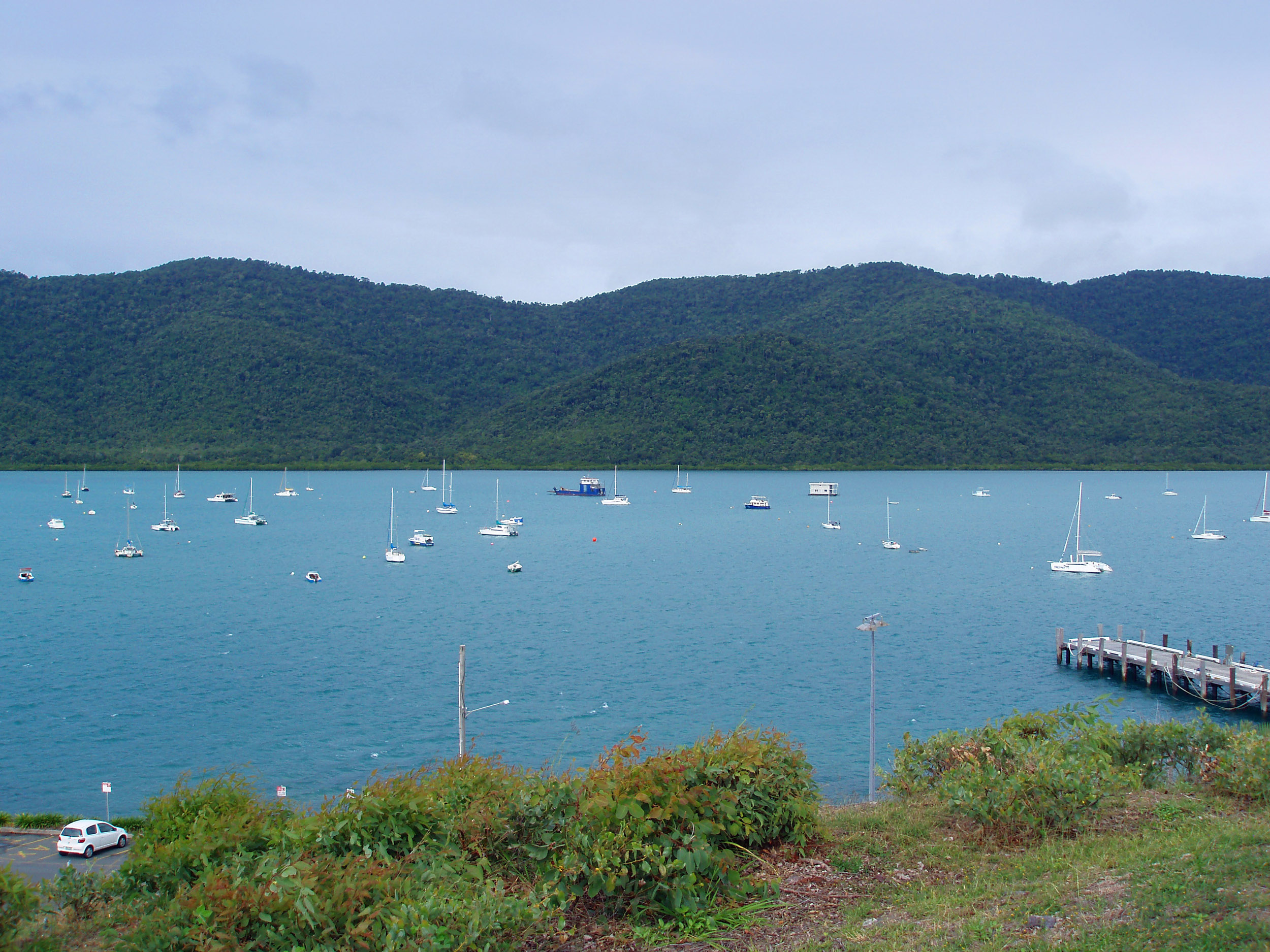 boats moored in the sheltered waters around shute harbour, whitsunday coast, queensland