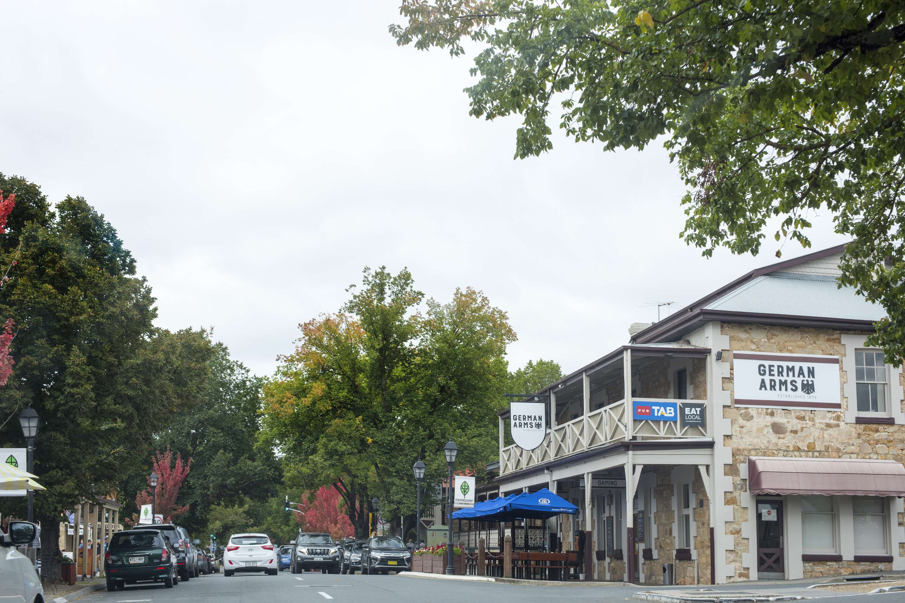 The German Arms Hotel in a leafy green street in Hahndorf, South Australia, s small town populated by Lutheran migrants