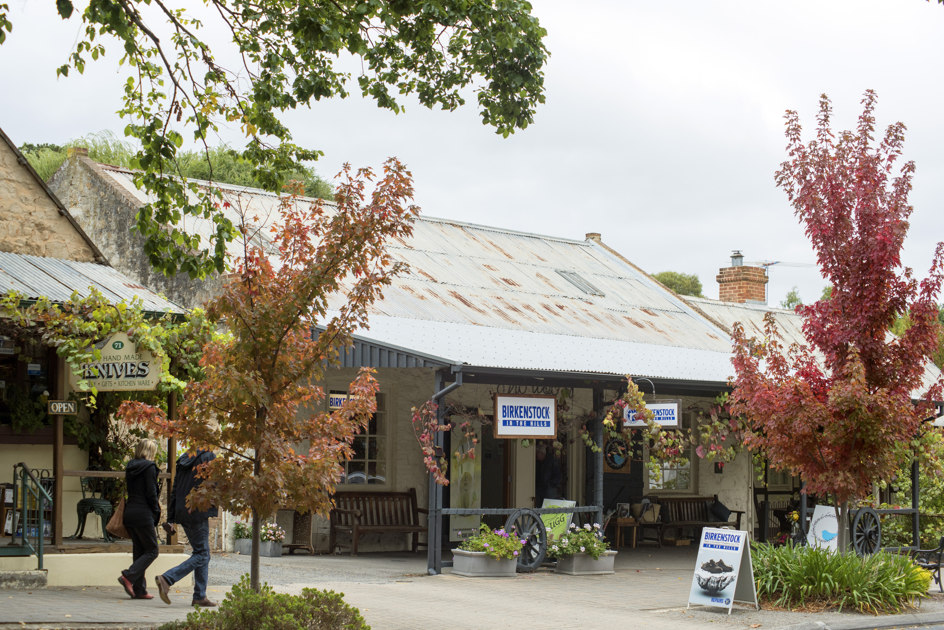 Quaint historic town of Hahndorf, Adelaide Hills, South Australia with its German colonial architecture and leafy green vegetation
