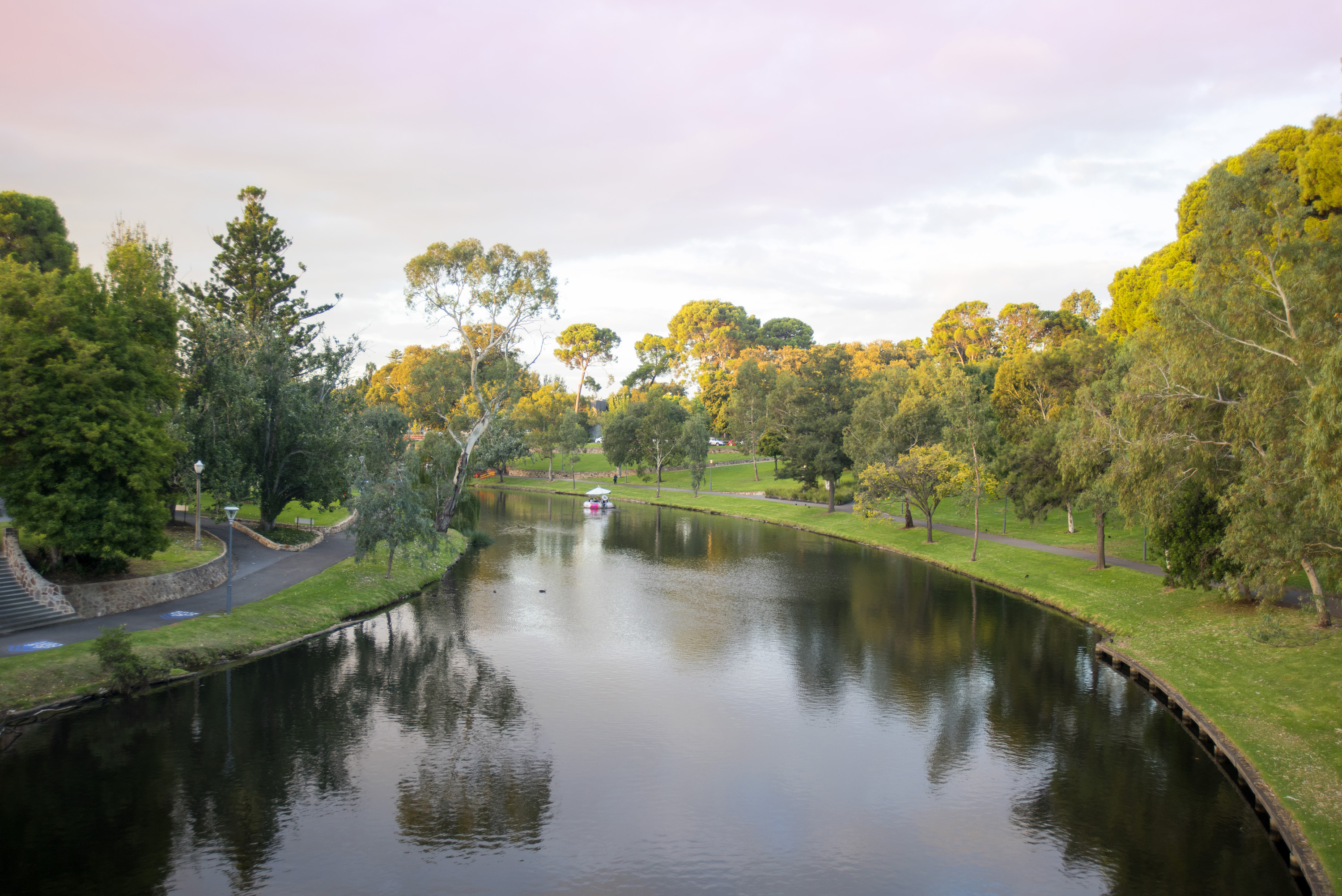 Reflections in the tranquil Torrens River in Adelaide, Australia of the surrounding leafy green trees with a footpath following the bank