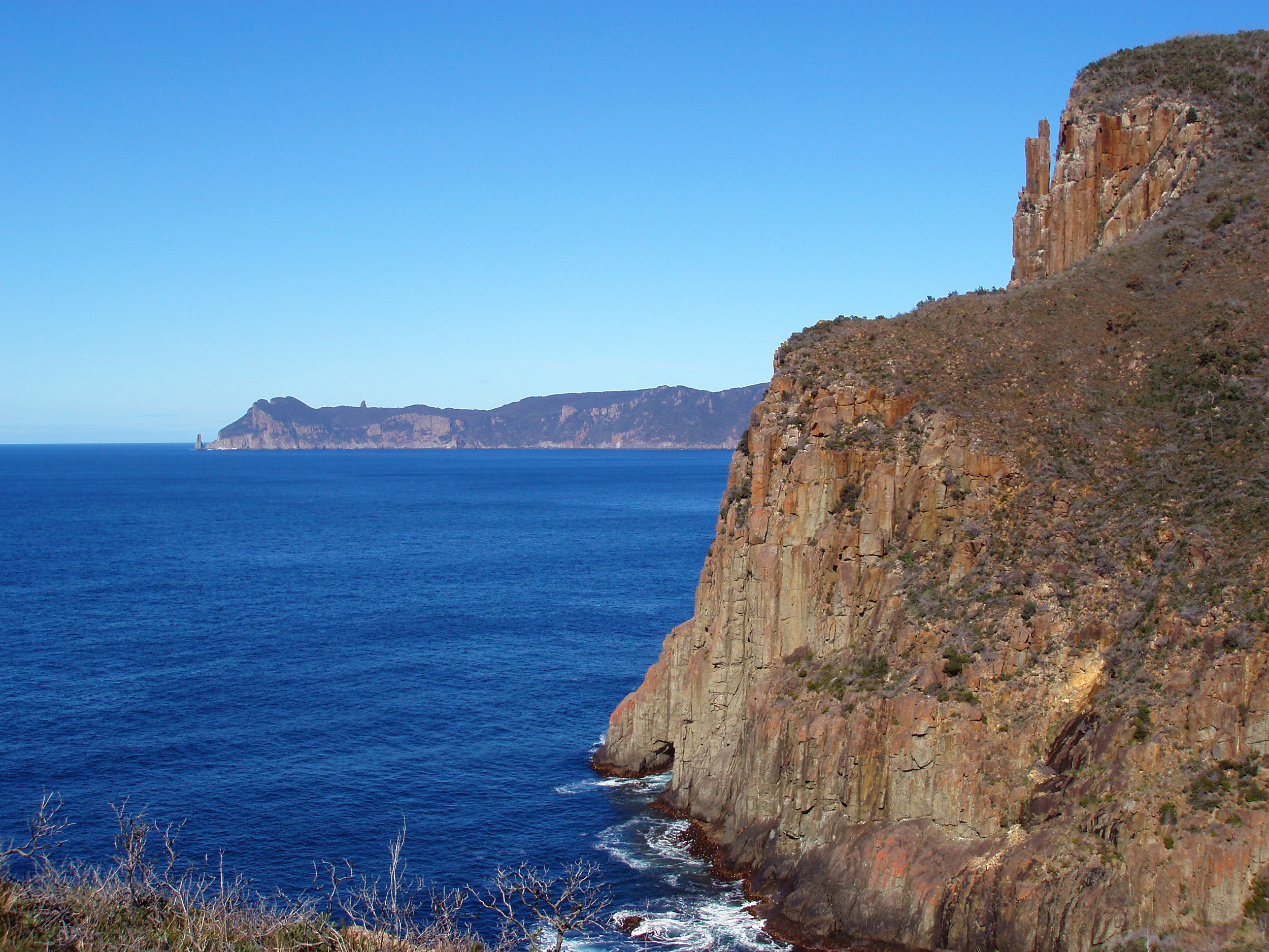 a view of Cape pillar in the distance from Cape Hauy