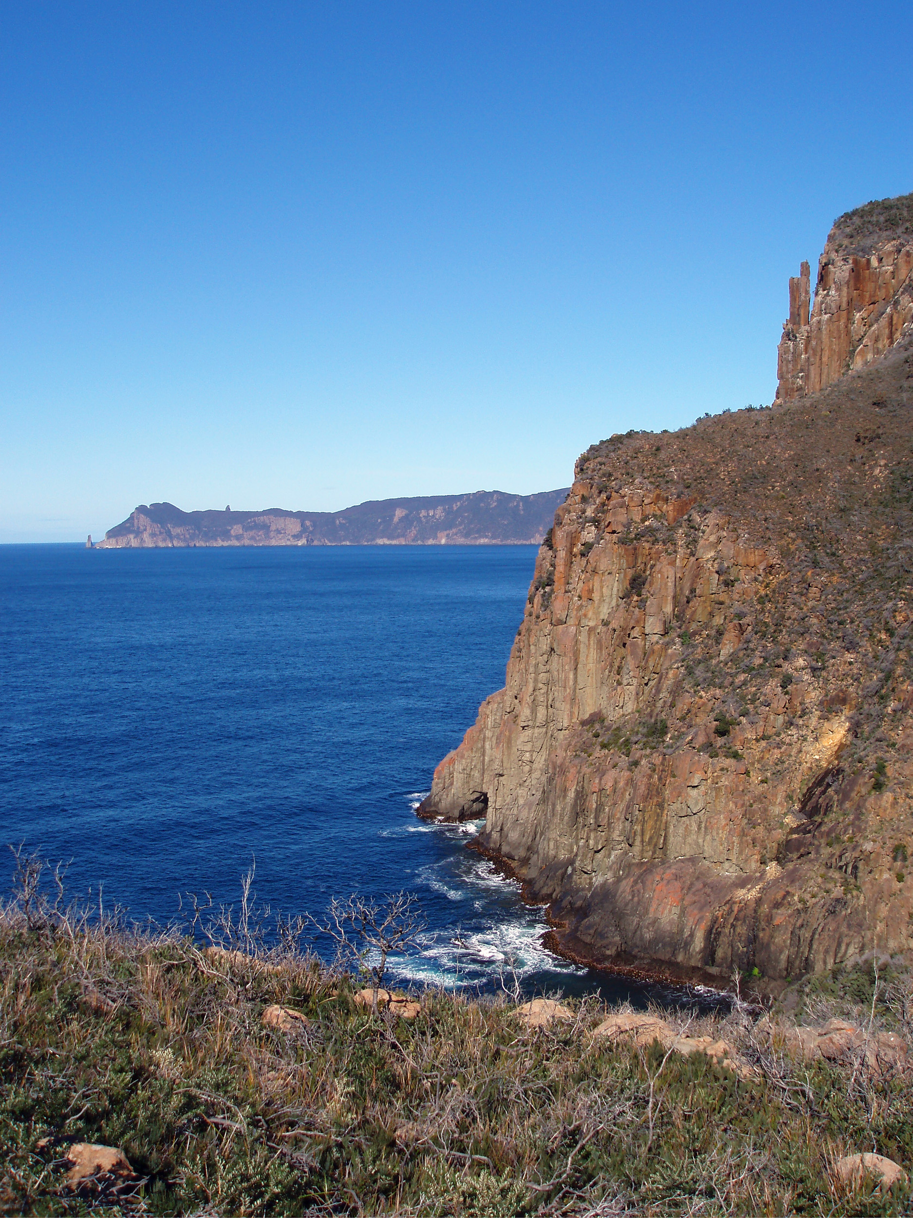 a view of Cape pillar across the water from Cape Hauy