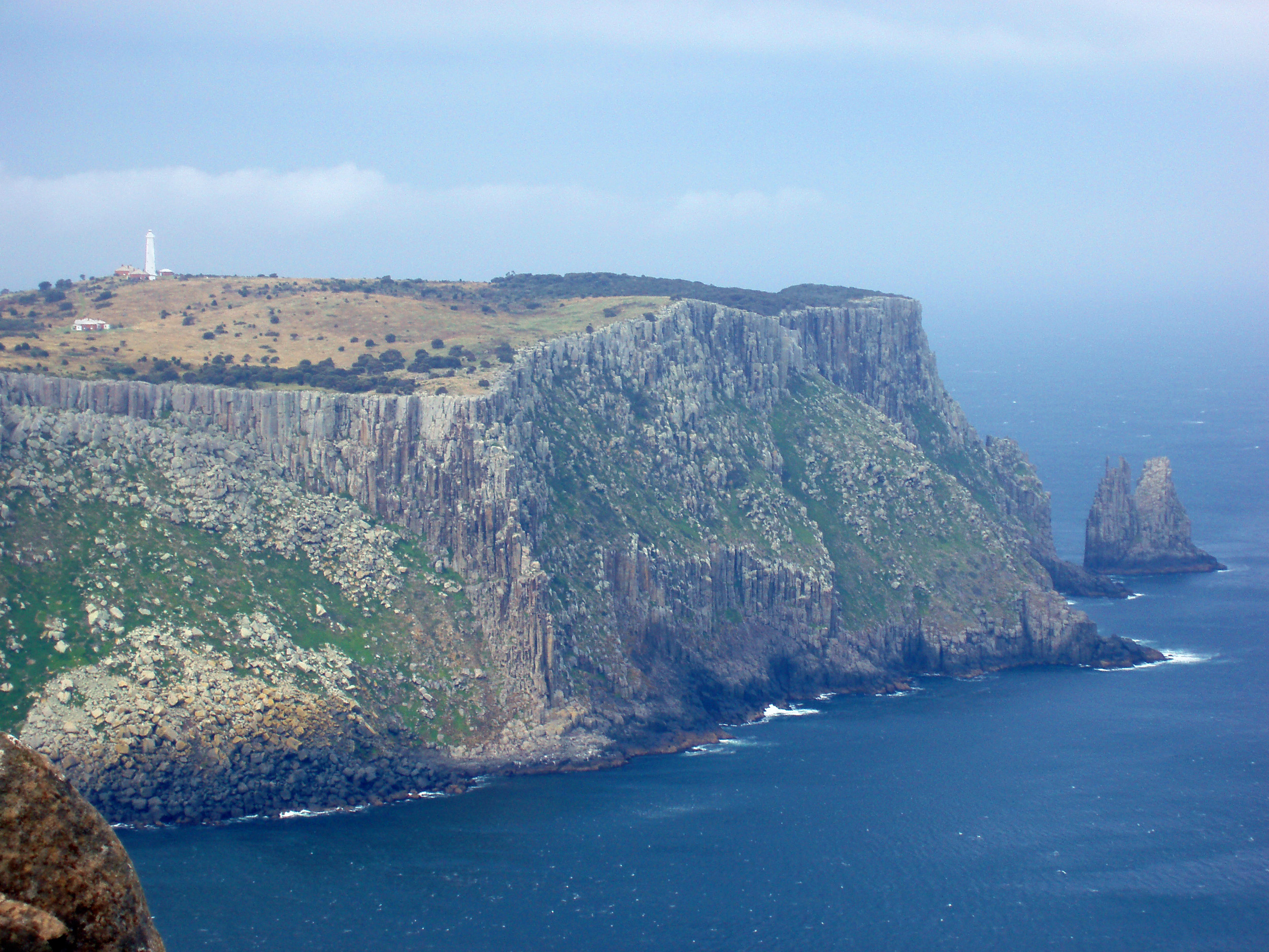 tasman island and lighthouse viewed from cape pillar