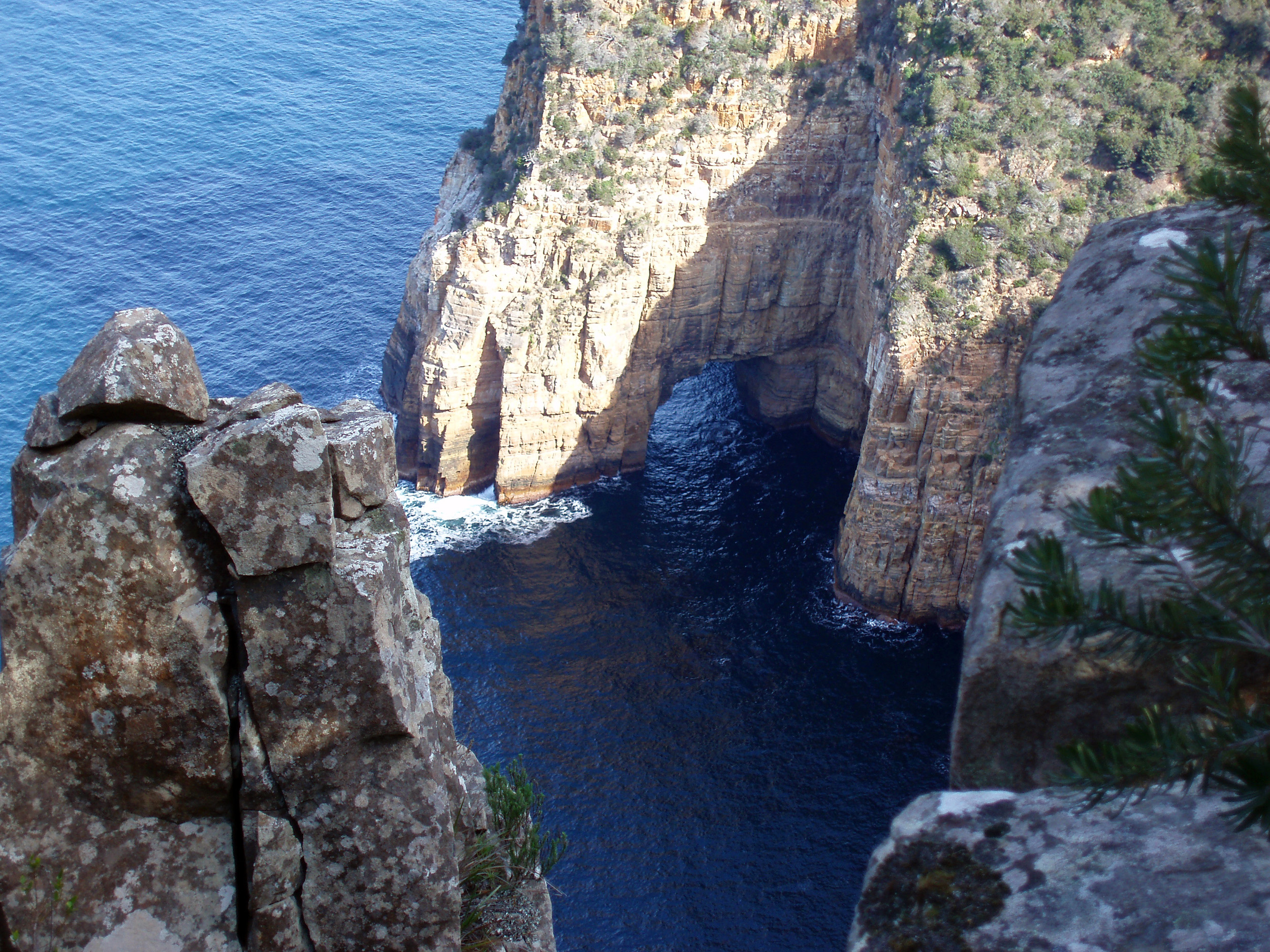 a rock arch erdoded by water into the cliffs of the tasman peninsula between cape pillar and cape hauy