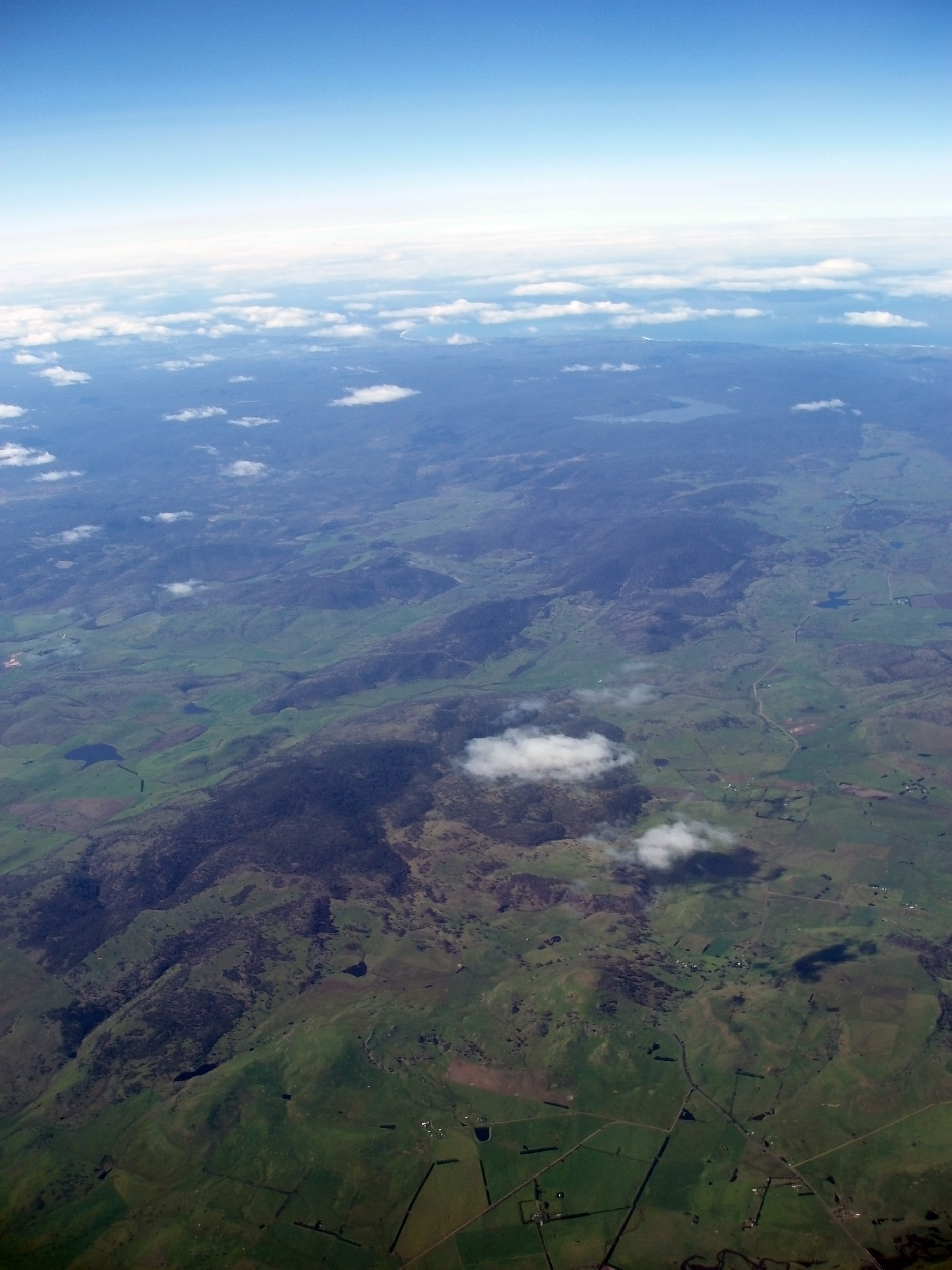 an aerial view of the tasmanian landscape