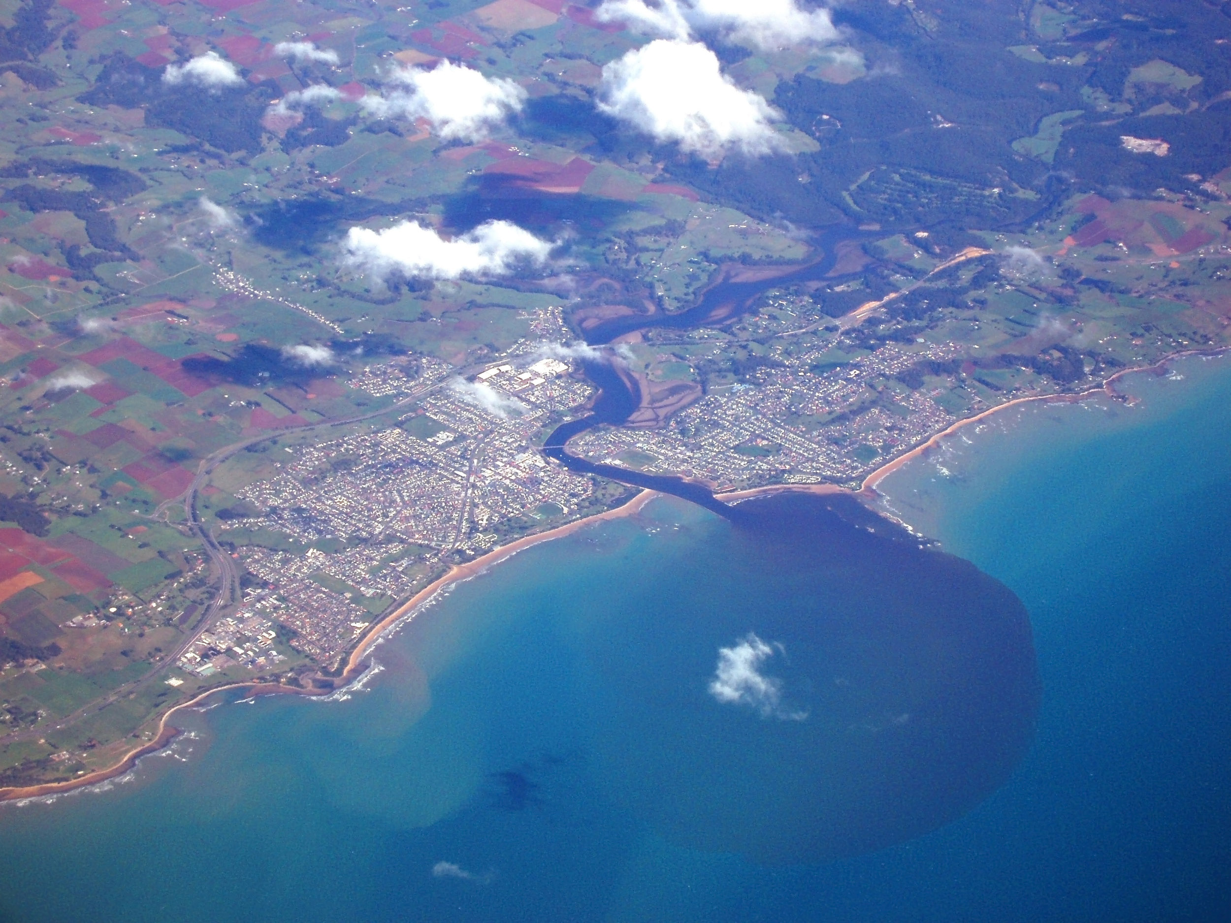a aerial view of the mouth of the river laven and the town of ulverstone
