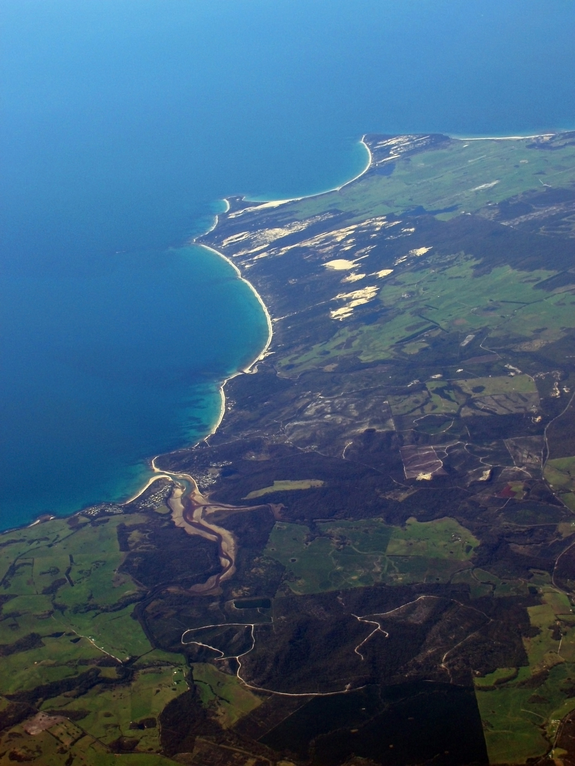 aerial view of the small tasmanian towns of weymouth and bellingham on the north coast