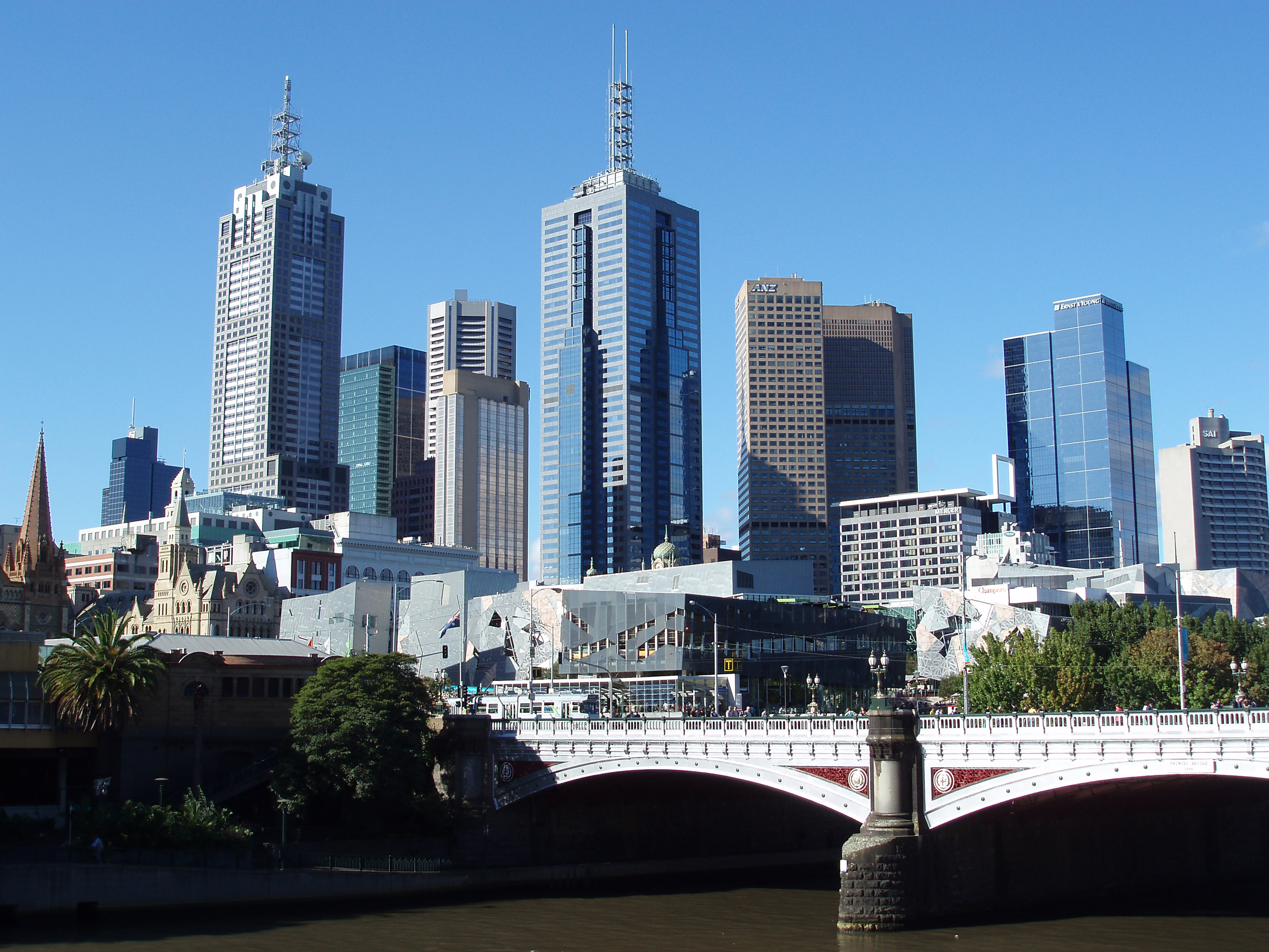 a view of the Princes Bridge and the office towers of downtown melbourne from the southbank of the yarra river