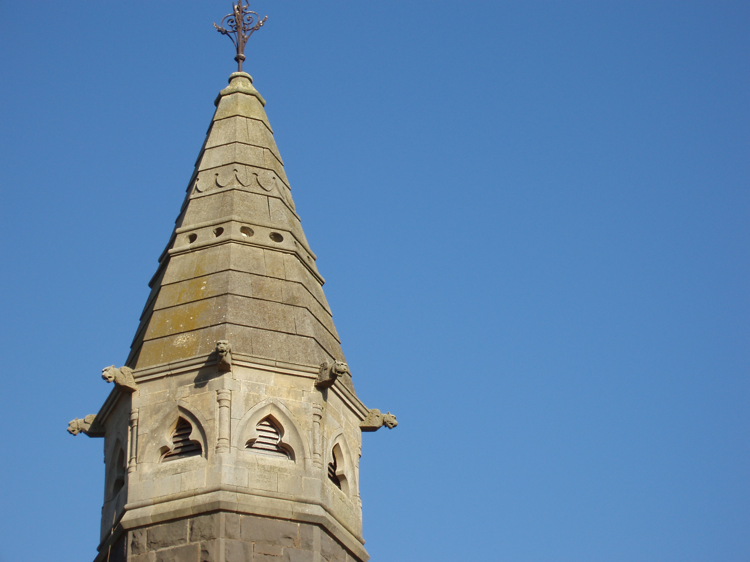 Close up on the tower at the top of Wickliffe Presbyterian Church, Victroria