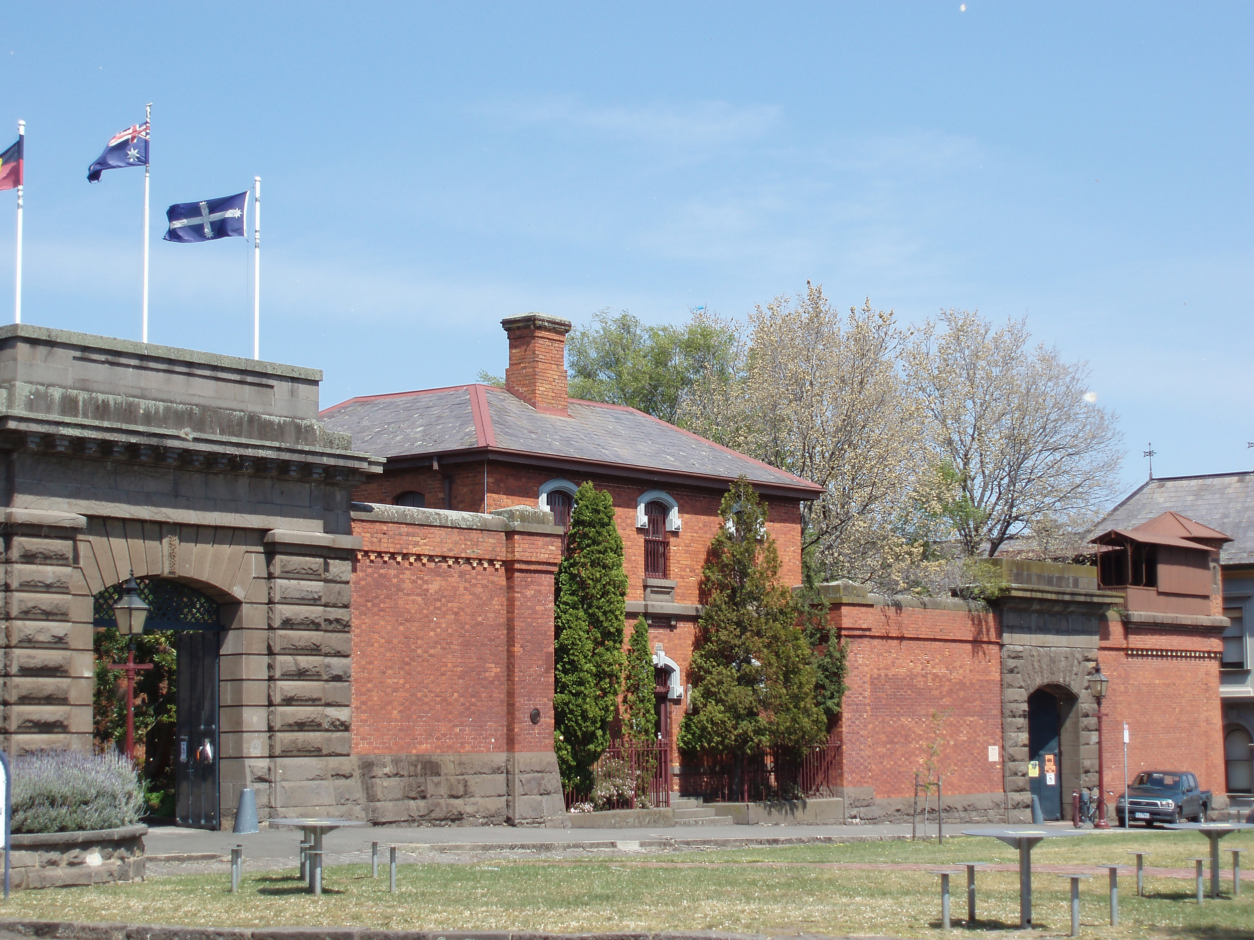 old ballarat gaol buildings and entrance gate, building was started in 1856