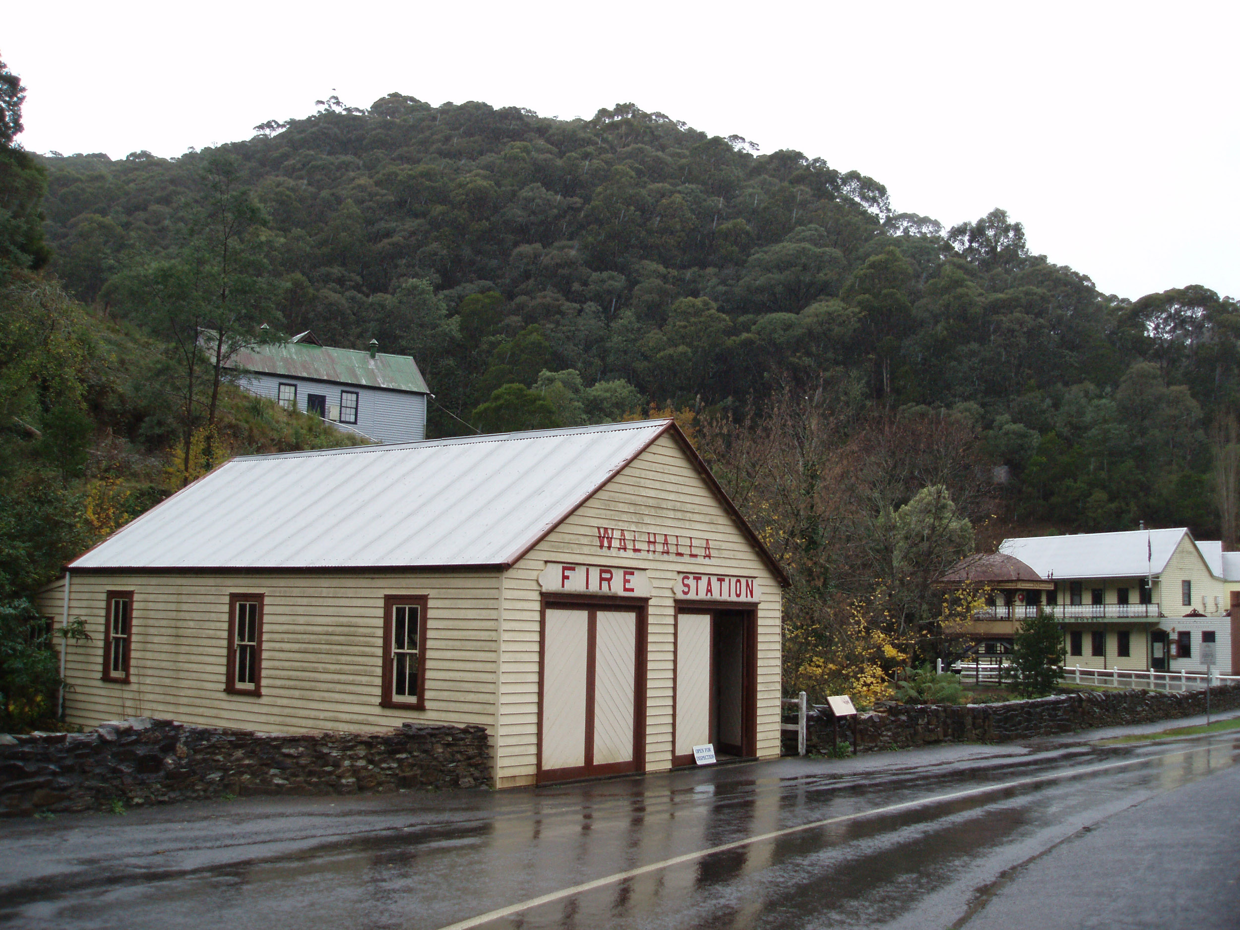 a rainy day at the historic fire station, walhalla, gippsland, victoria